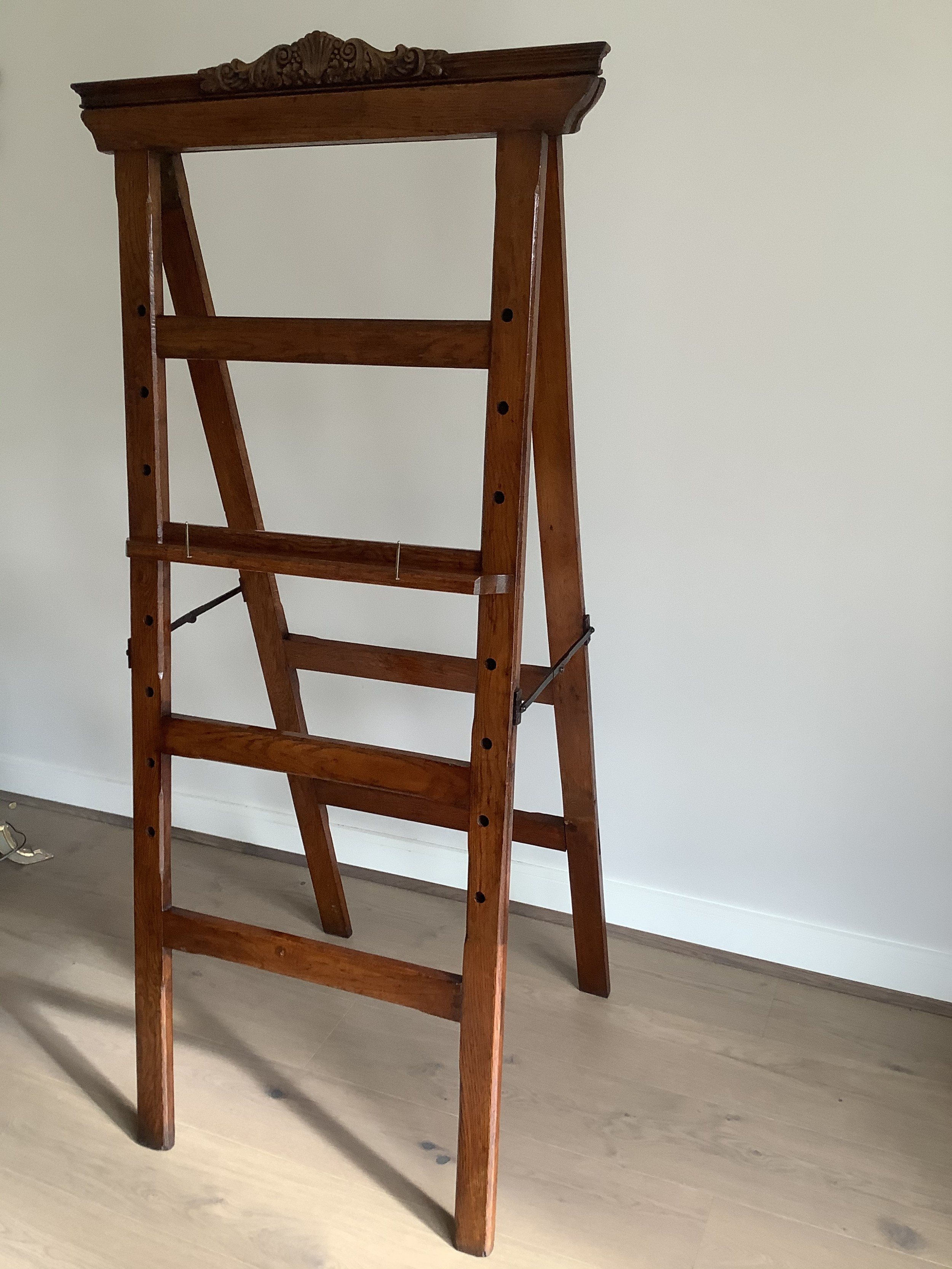 country house oak artists easel with removable carved cartouche heavy and of large sizec1870