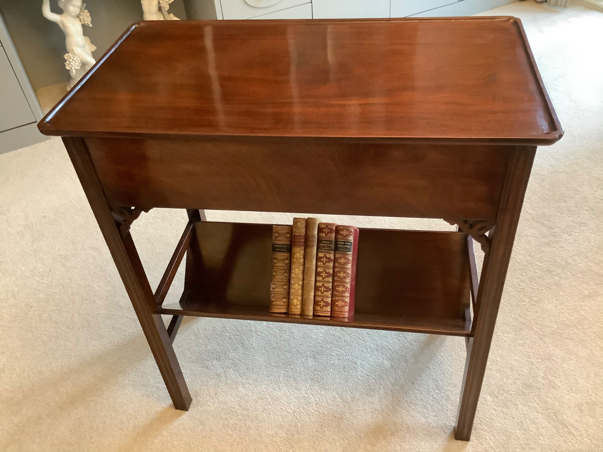 mahogany tray top table with book trough chippendale style fine quality 19thc