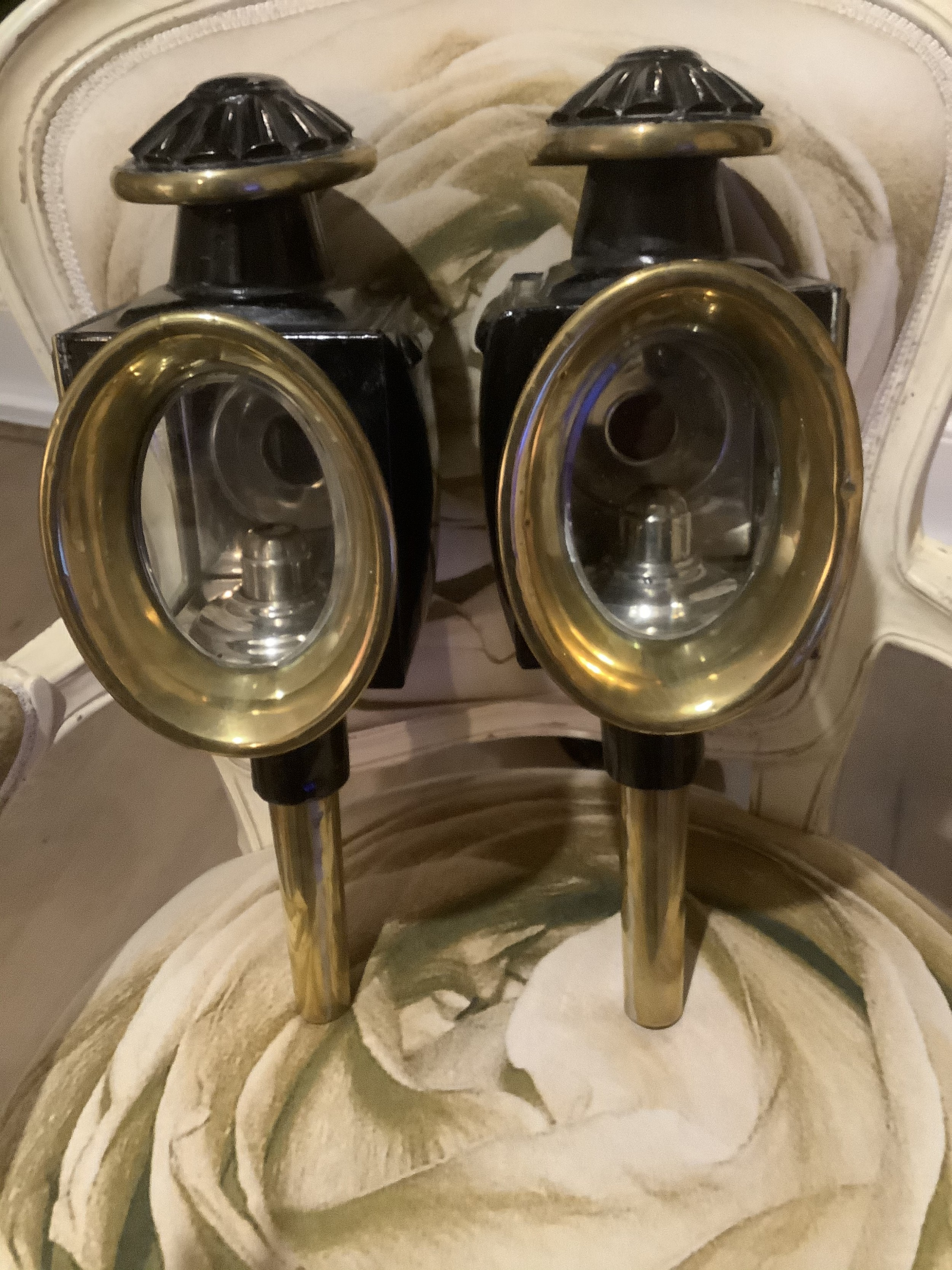 a pair of victorian brass and metal wall lanterns 19thc english