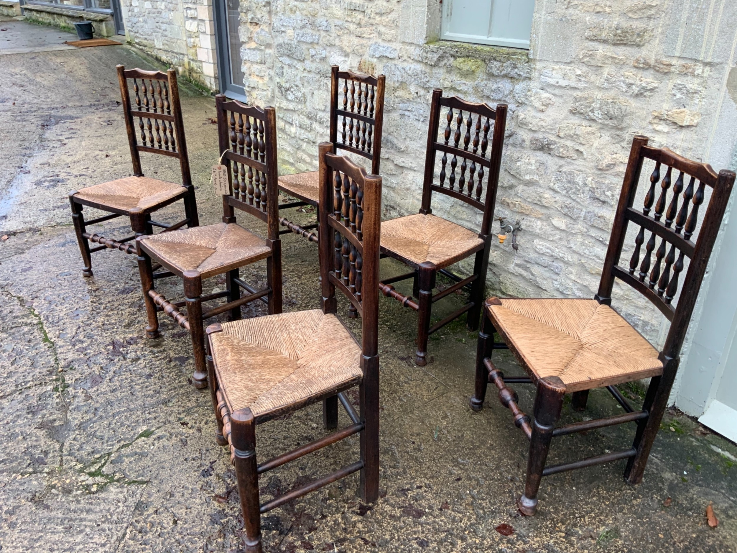 english antique country made set of six oak chairs