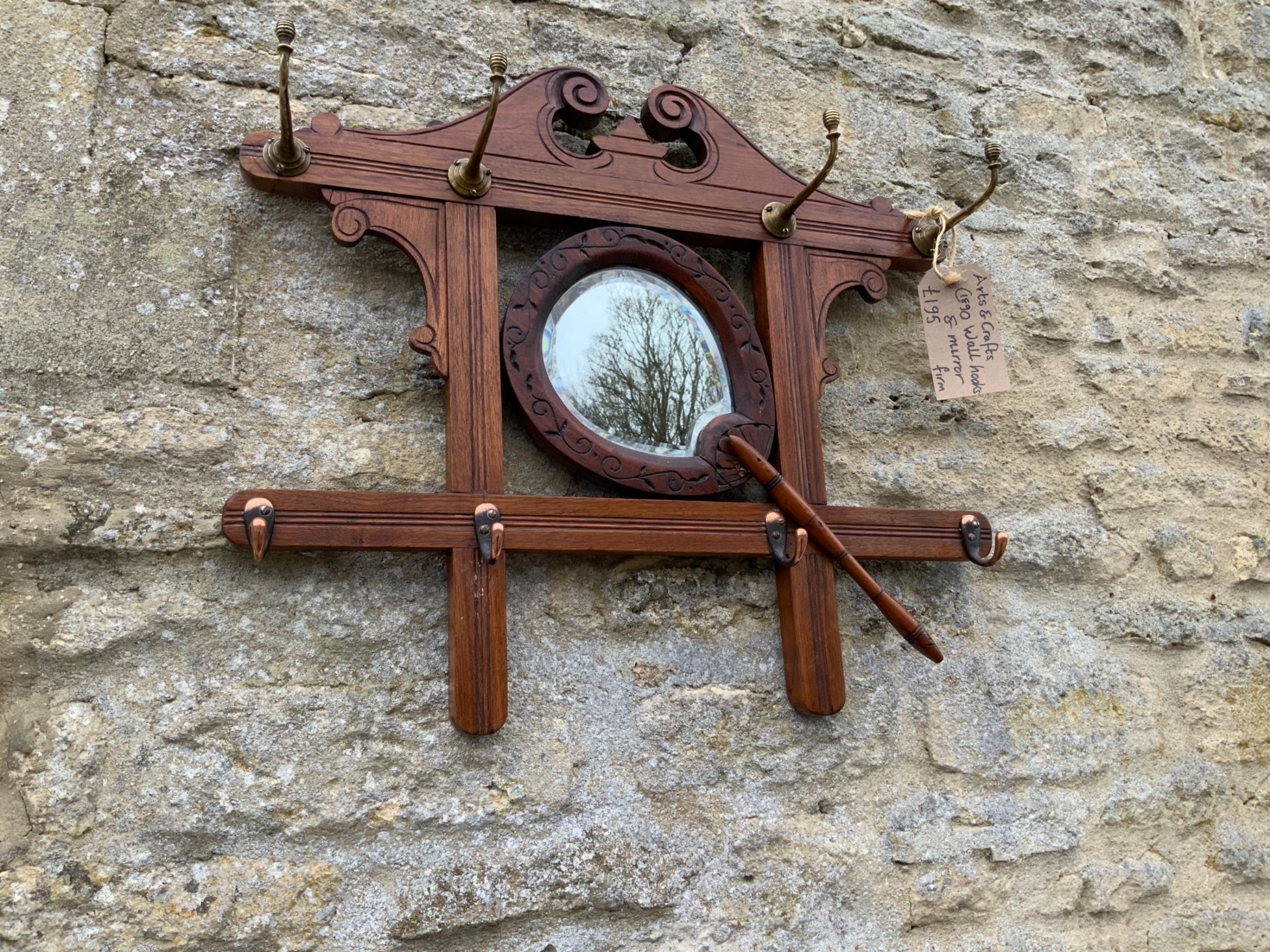 antique english arts and crafts wall hung mirror with hooks