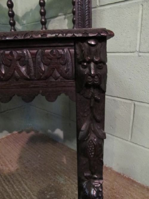 antique victorian carved green man hall side table desk c1880 w6272142 - photo angle #2