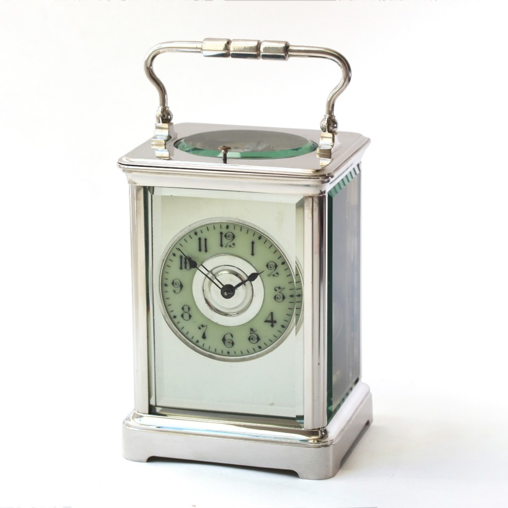 silver antique carriage clock with mirror mask