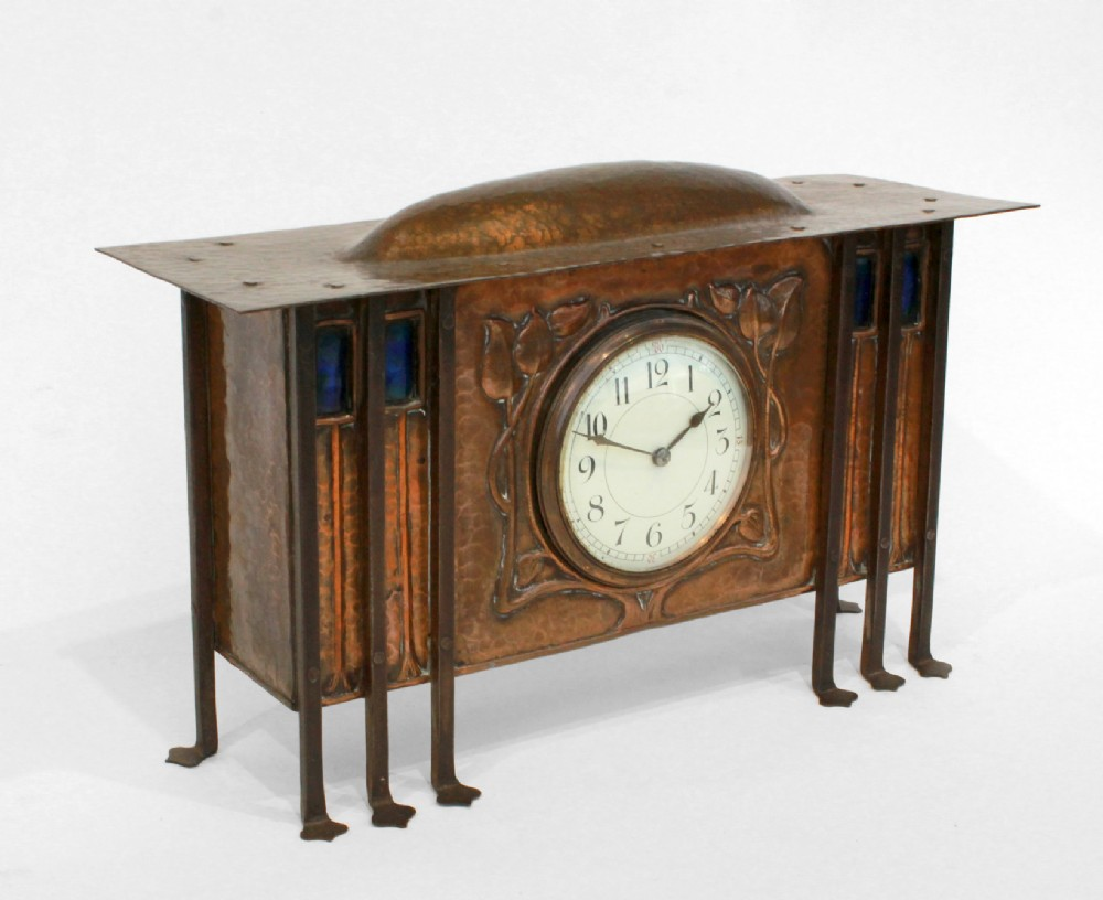 copper arts and crafts clock c1900