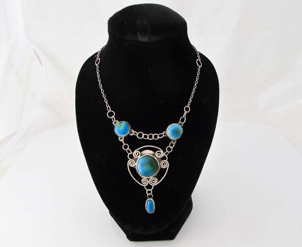 arts crafts silver necklace with ruskin enamels birmingham c1905