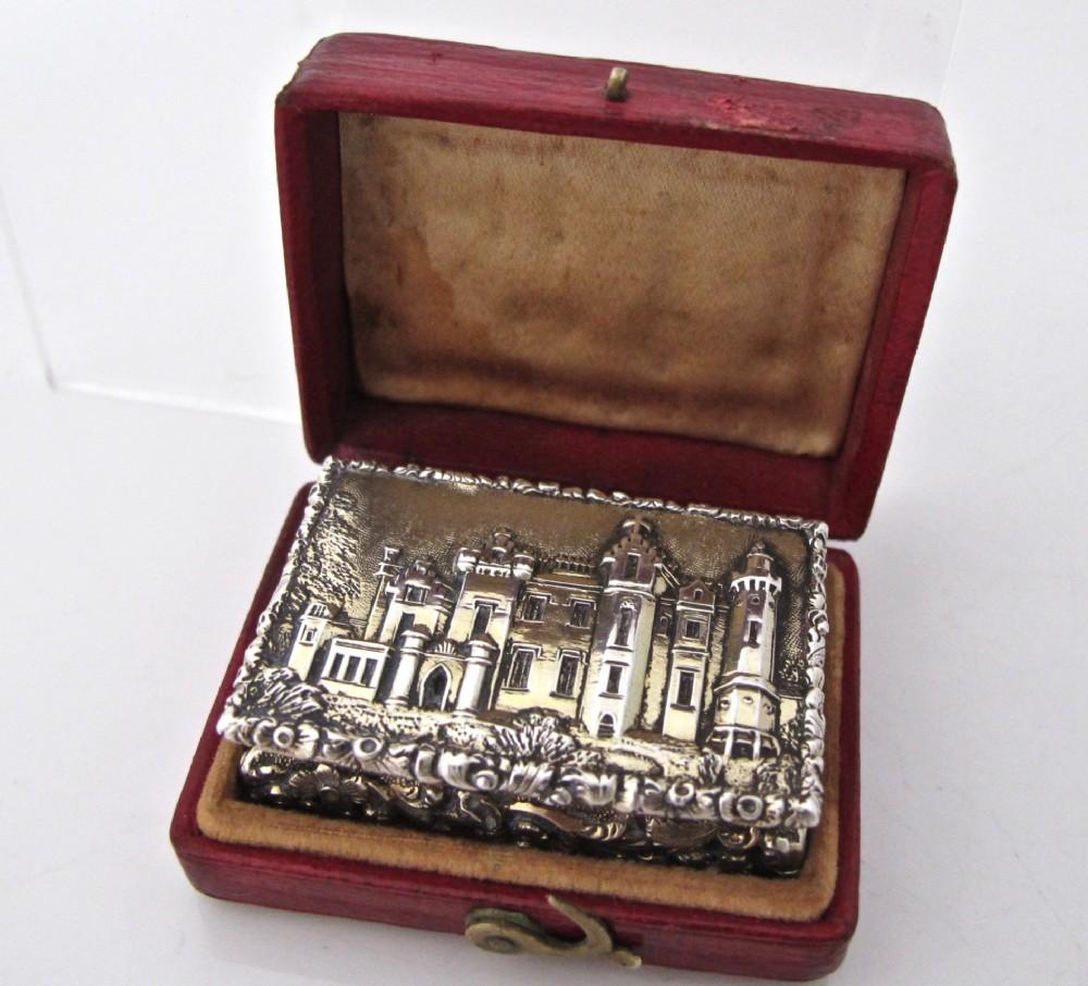 pristine william iv boxed silvergilt castletop vinaigrette nathaniel mills birmingham 1837