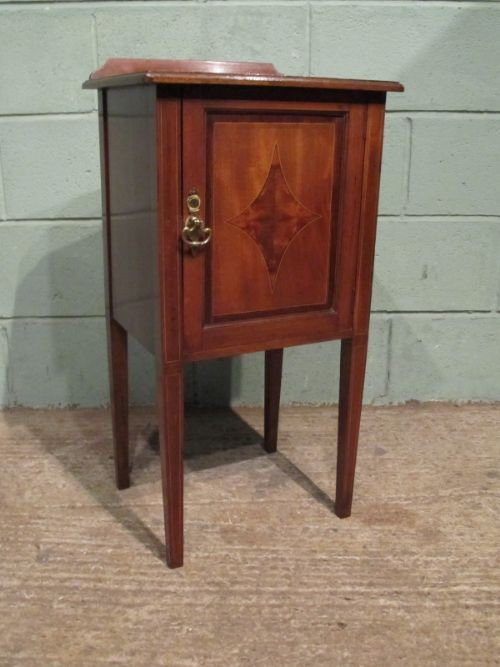 antique edwardian inlaid mahogany bedside cabinet pot cupboard c1900  w6914164 - Antique Edwardian Inlaid Mahogany Bedside Cabinet Pot Cupboard
