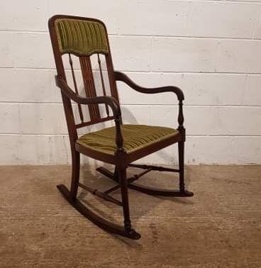 antique edwardian mahogany inlaid rocking chair c1900