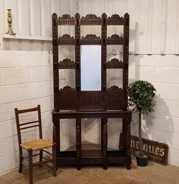 antique tall victorian carved gothic oak hall stand c1880