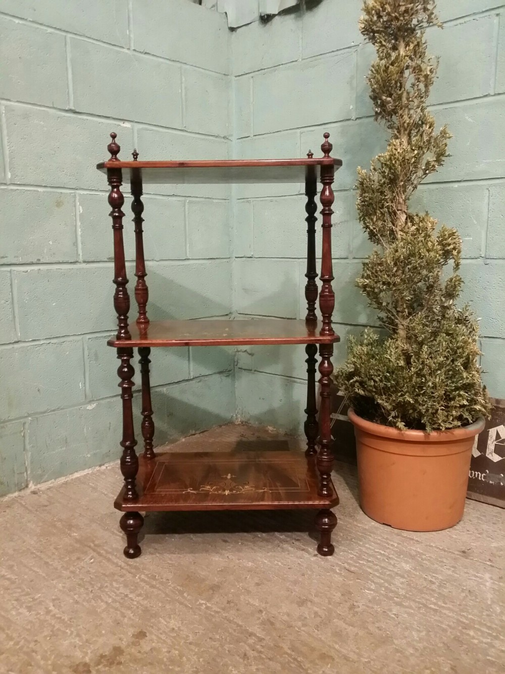 antique edwardian burr walnut inlaid 3 tier whatnot c1900