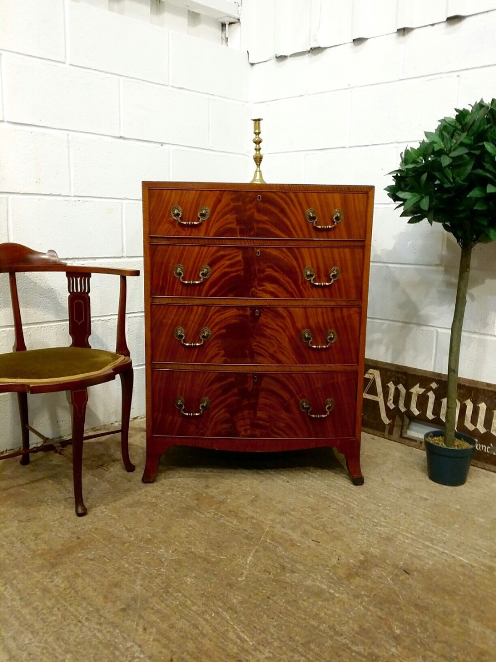 antique edwardian flamed mahogany bow front chest of drawers c1900