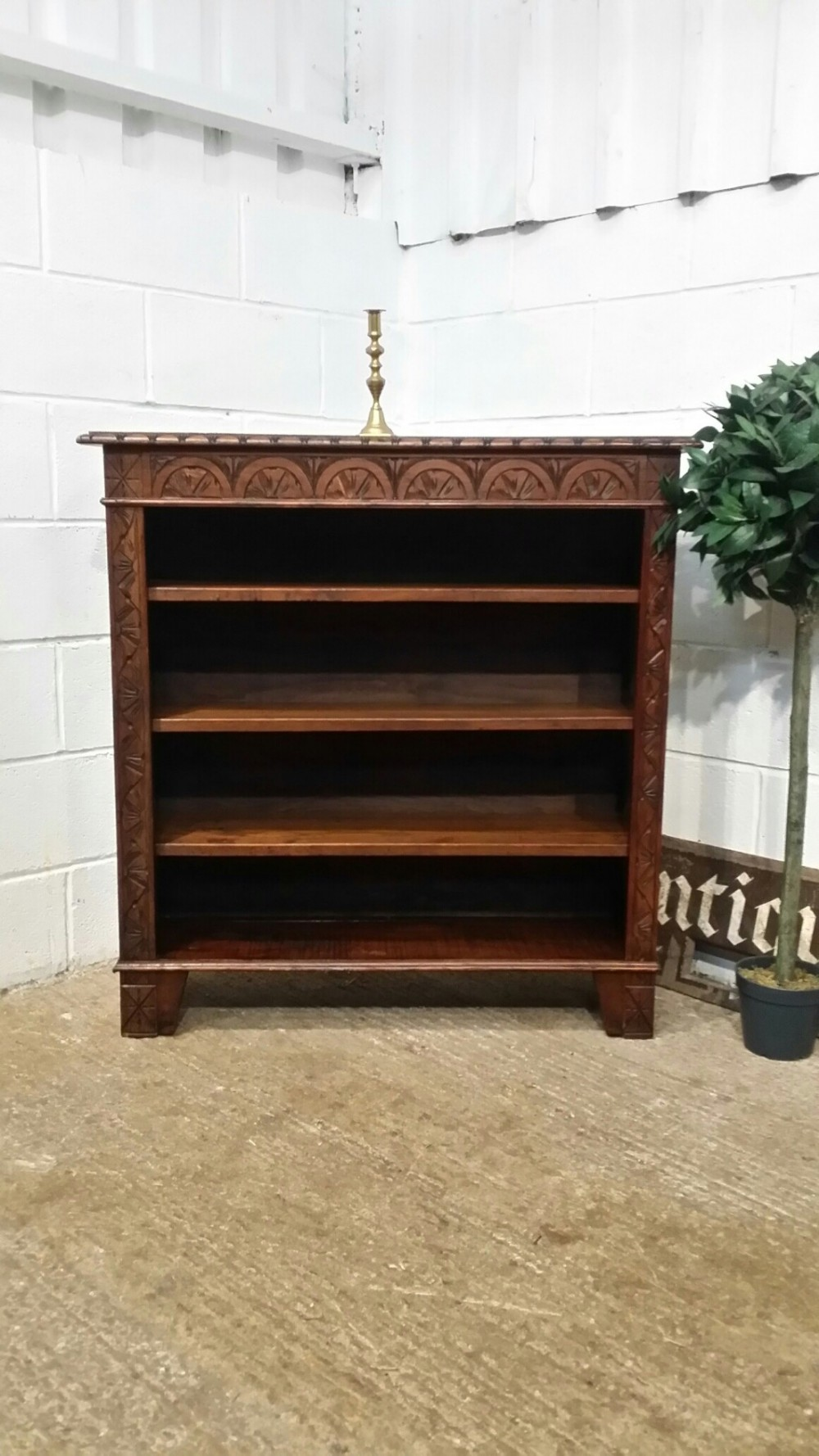antique victorian carved oak open bookcase c1880