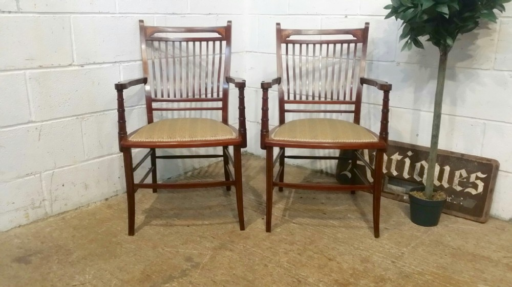 antique pair of mahogany edwardian library chairs c1900