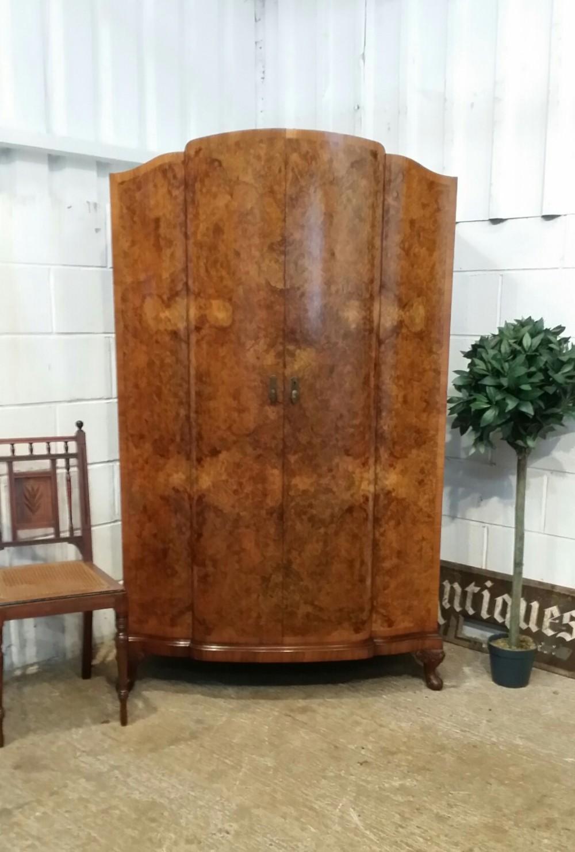 antique art deco queen anne style burr walnut gentlemans double wardrobe c1920
