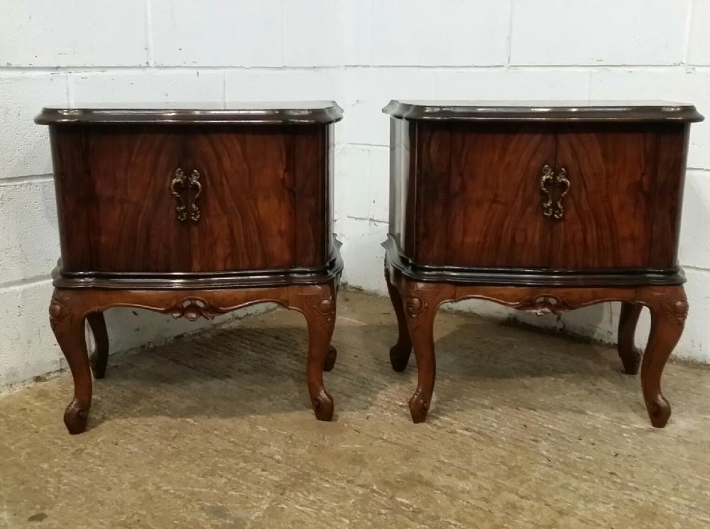 antique pair italian dark burr walnut serpentine shaped bedside cabinets c1920