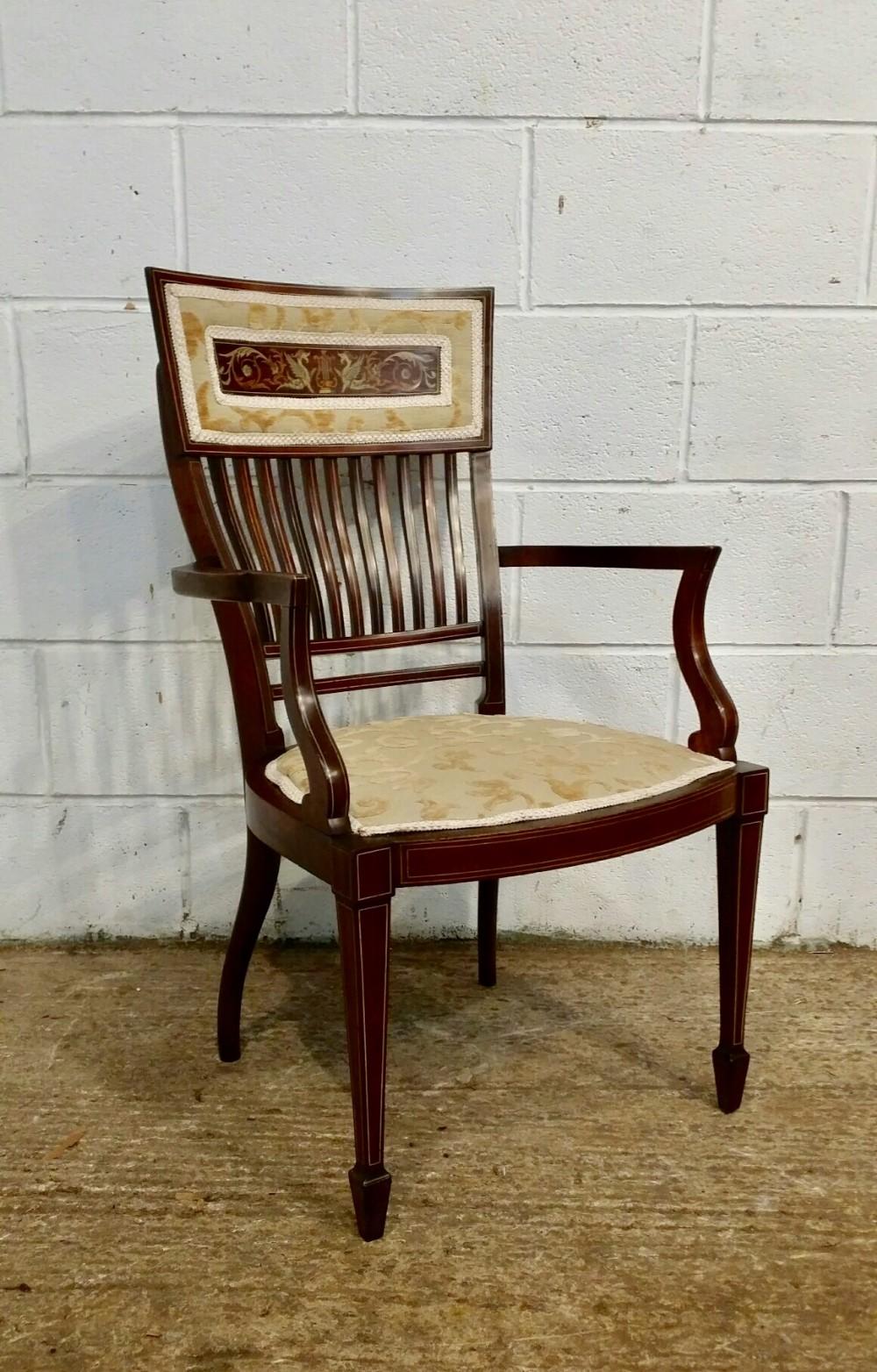 antique art nouveau inlaid mahogany salon desk chair c1890