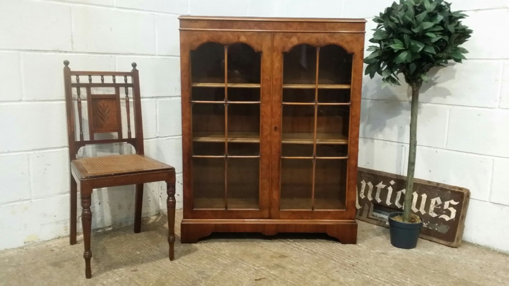 antique burr walnut glazed bookcase c1920