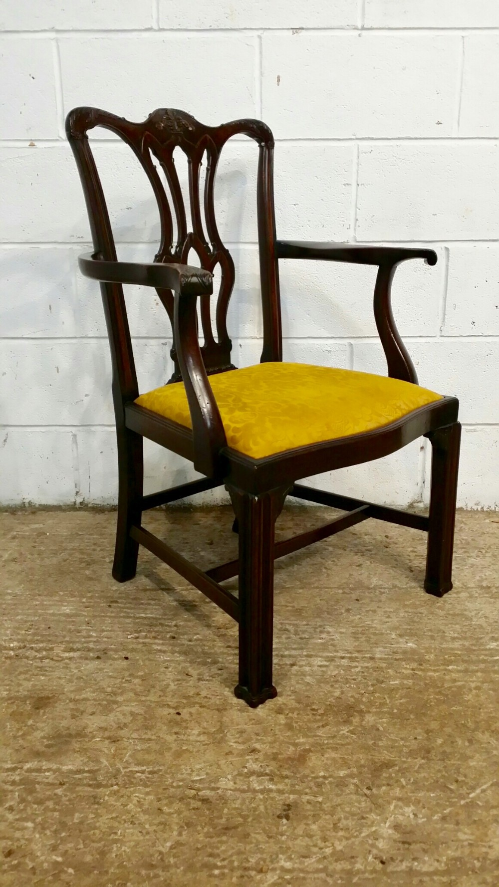 antique edwardian chippendale cuban mahogany library chair c1900