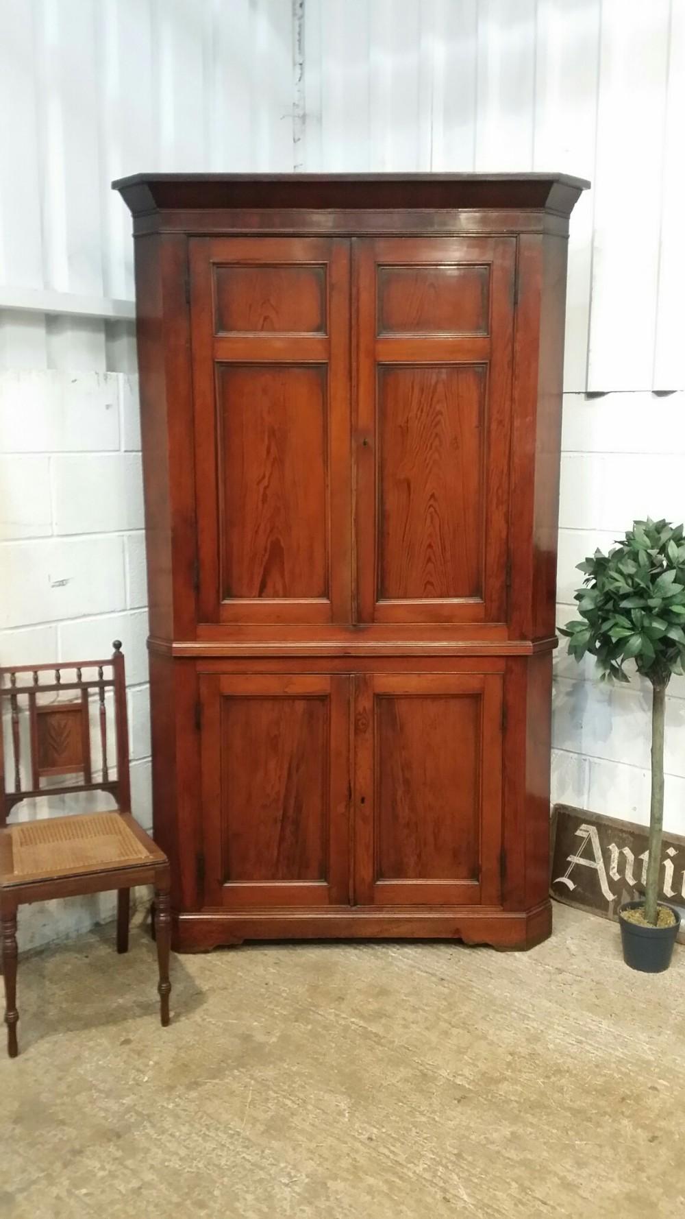 antique regency full height pitch pine corner cabinet c1820 - Antique Regency Full Height Pitch Pine Corner Cabinet C1820 519008