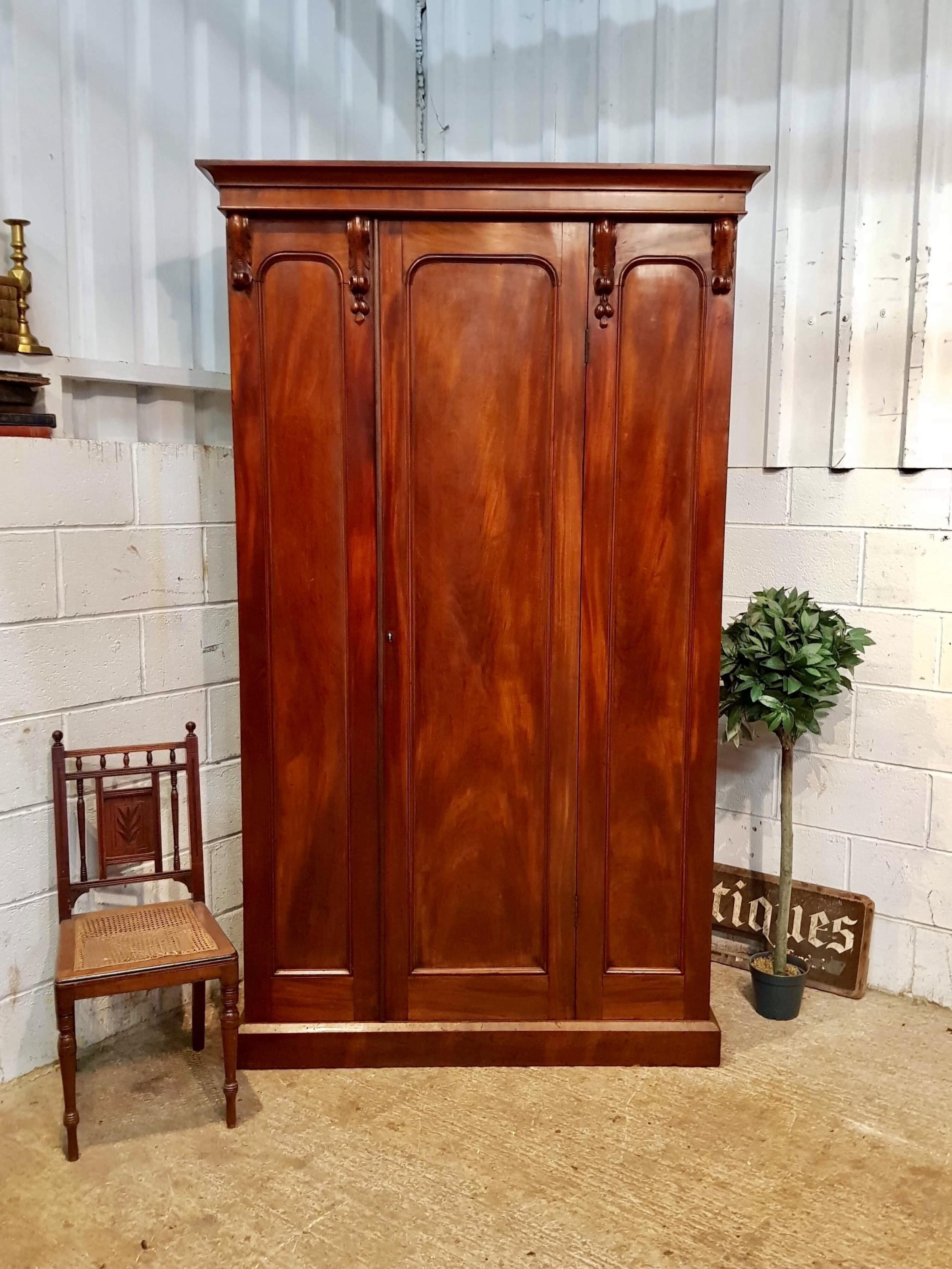 antique victorian mahogany single door wardrobe c1870
