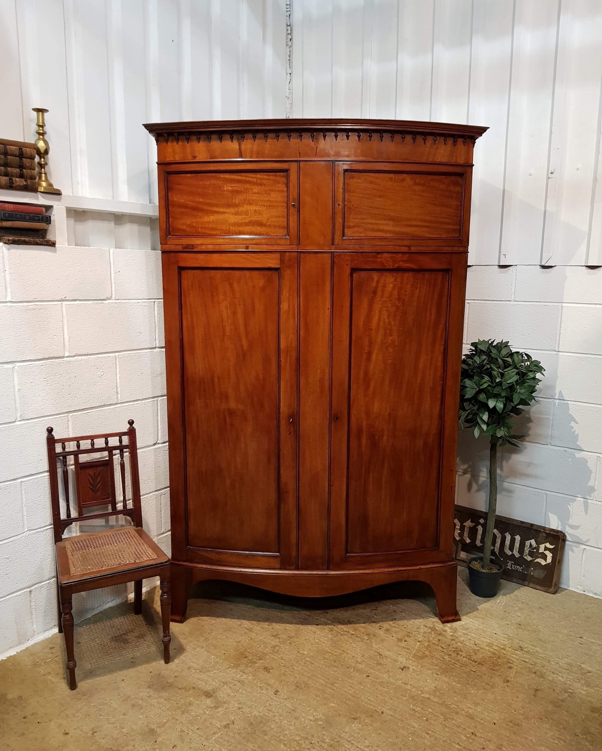 Antique Furniture Antiques The Cheapest Price Edwardian Bowfront 2 Door Oak Wardrobe With Key