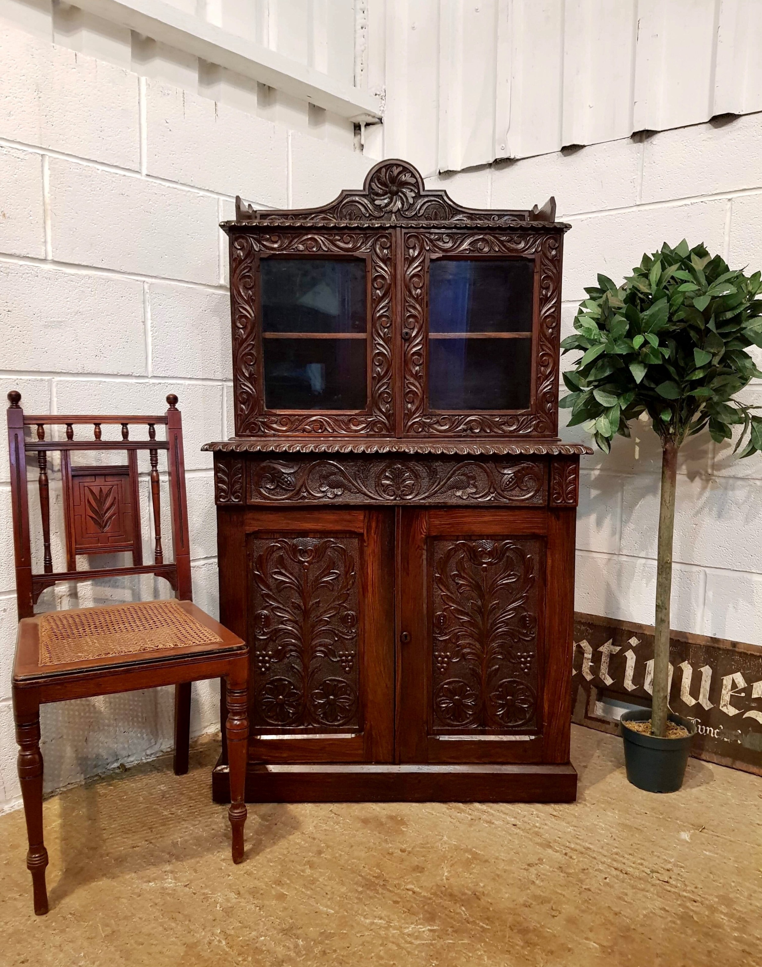 antique victorian small carved gothic oak bookcase on cupboard c1880