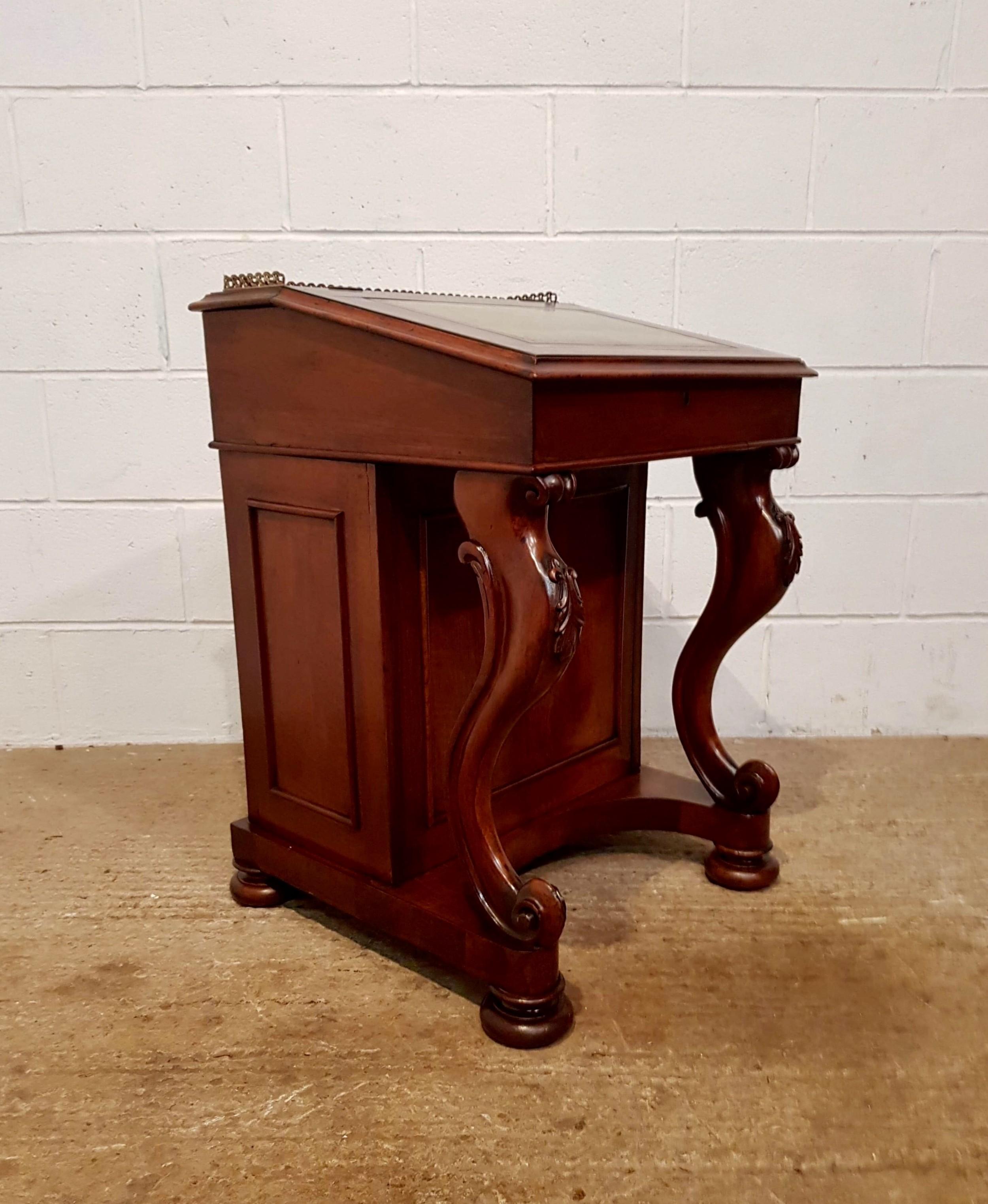 antique victorian mahogany davenport c1870