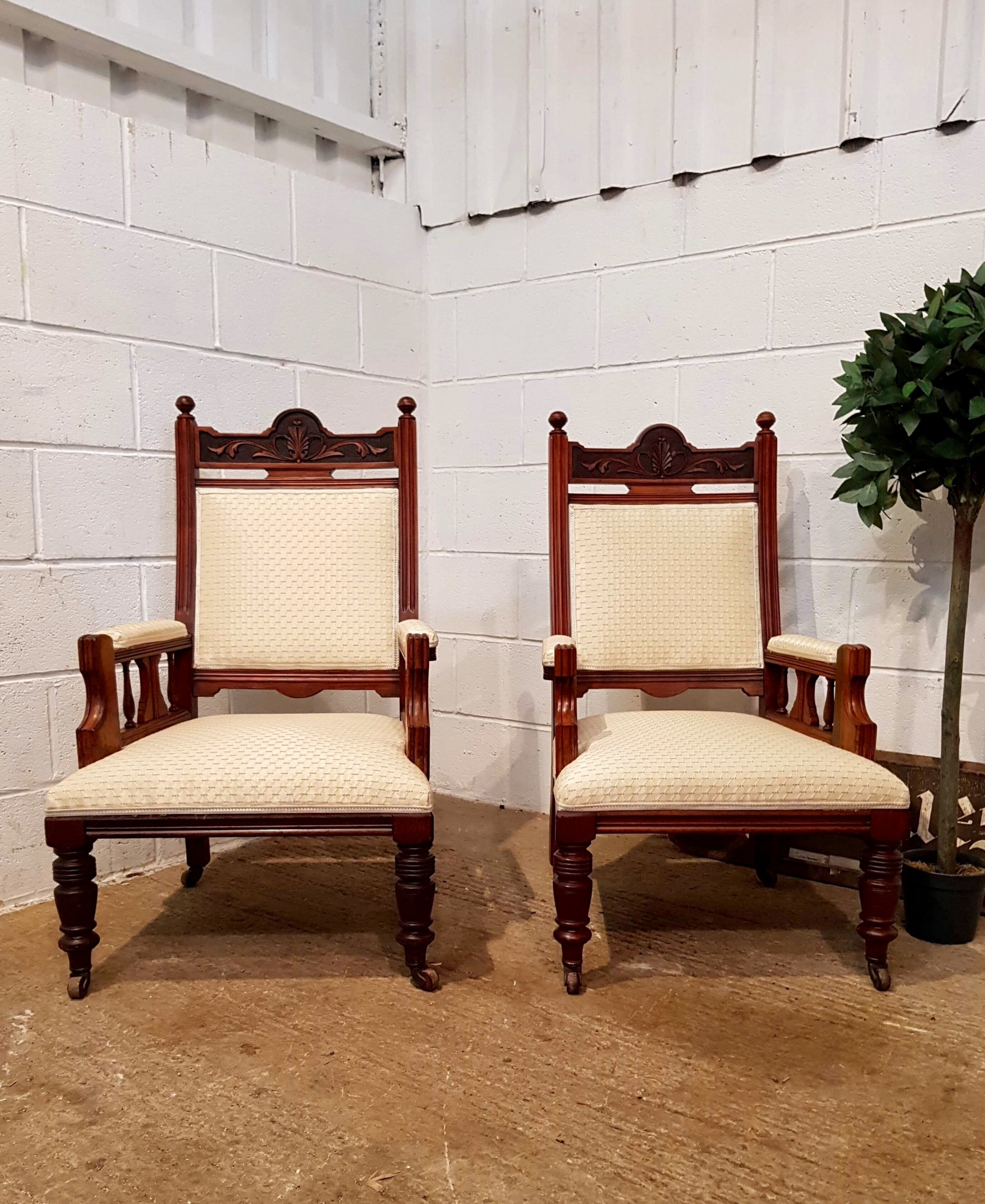 antique pair of late victorian walnut ladies gents armchairs c1890