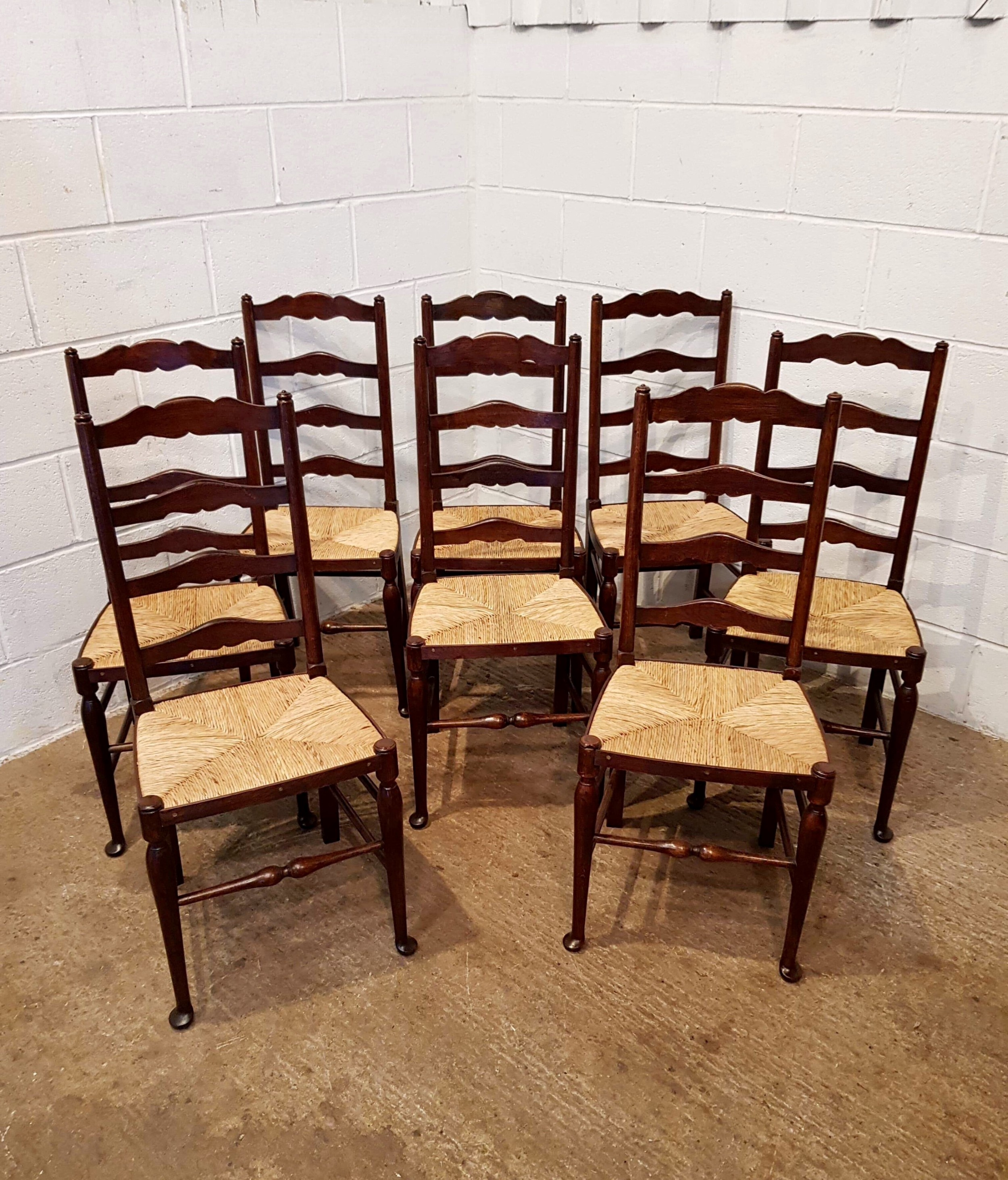 Antique Set Eight Oak Ladder Back Dining Chairs With Rush Seats C1910 612186 Sellingantiques Co Uk