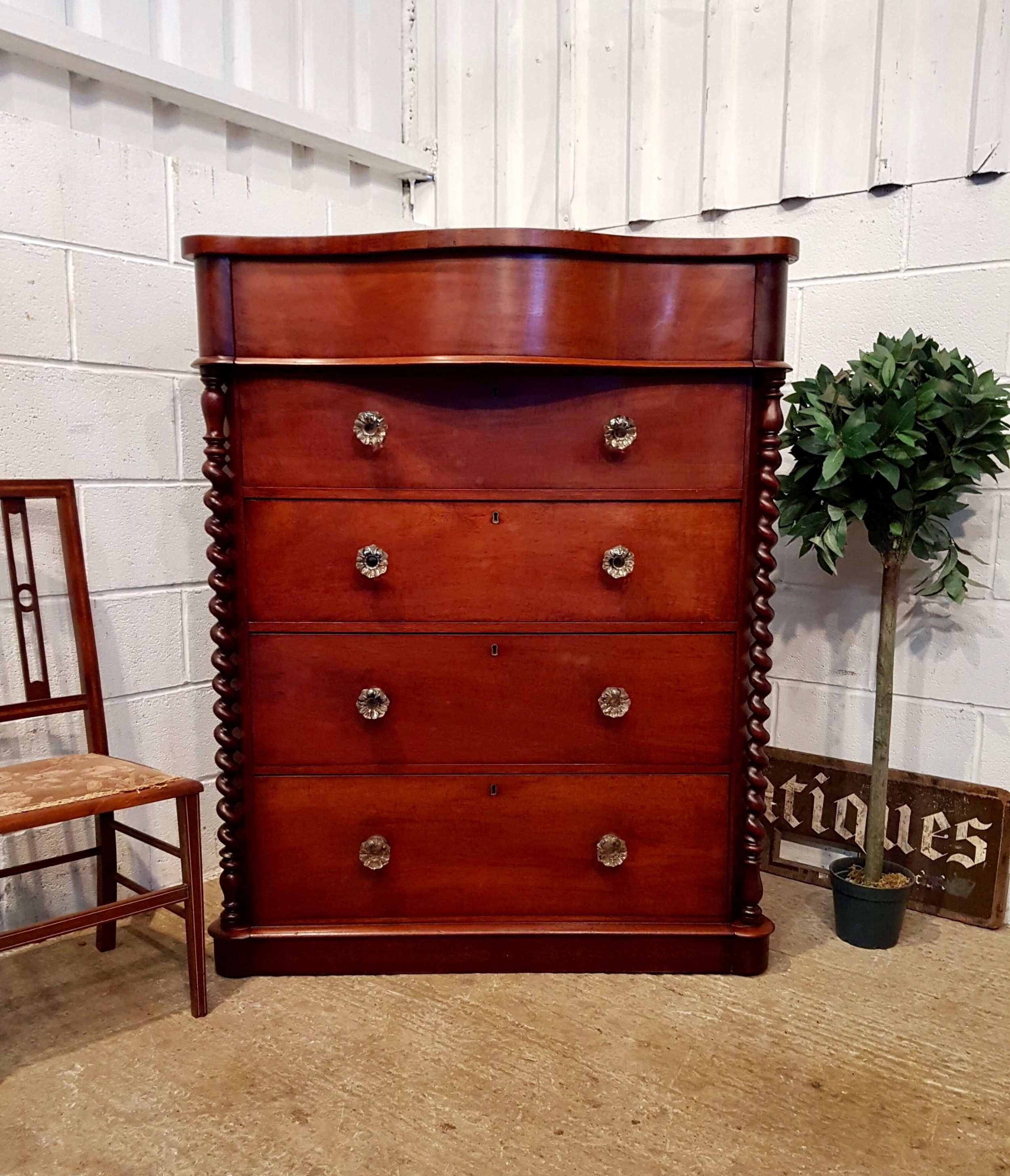 antique victorian mahogany scotch chest of drawers c1880