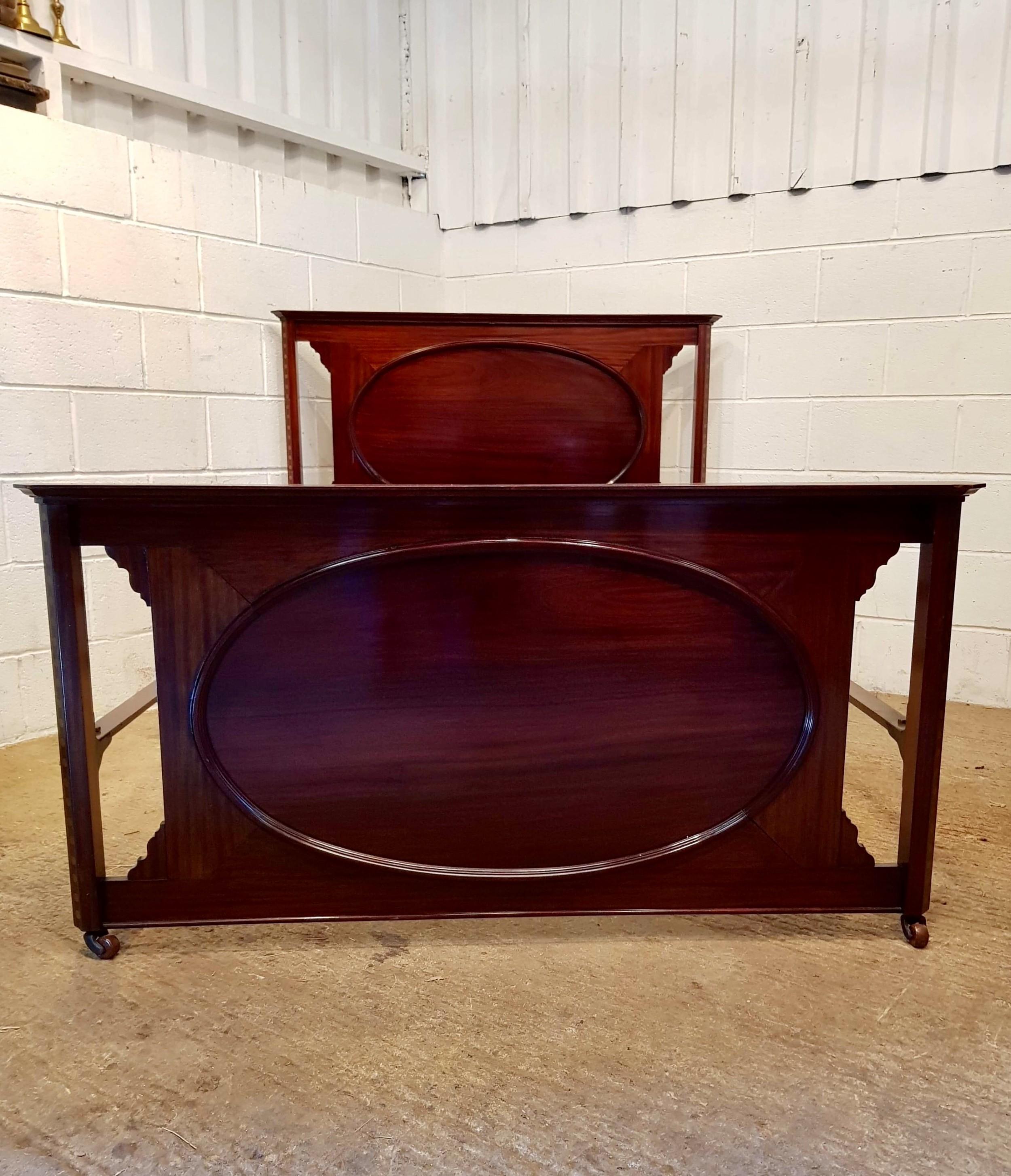 antique edwardian inlaid mahogany double bed c1900