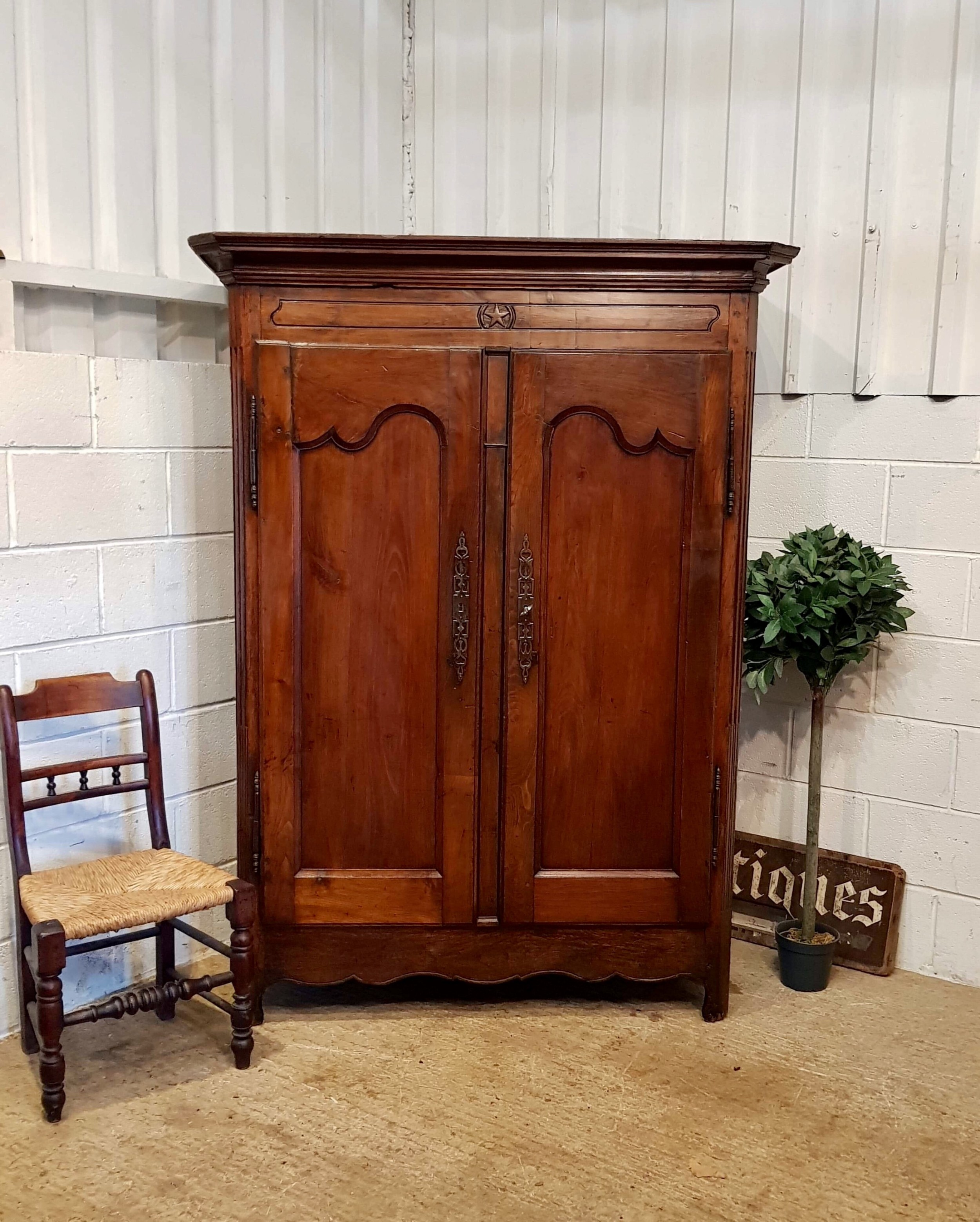antique late 18th century french provincial oak and fruitwood armoire c1790