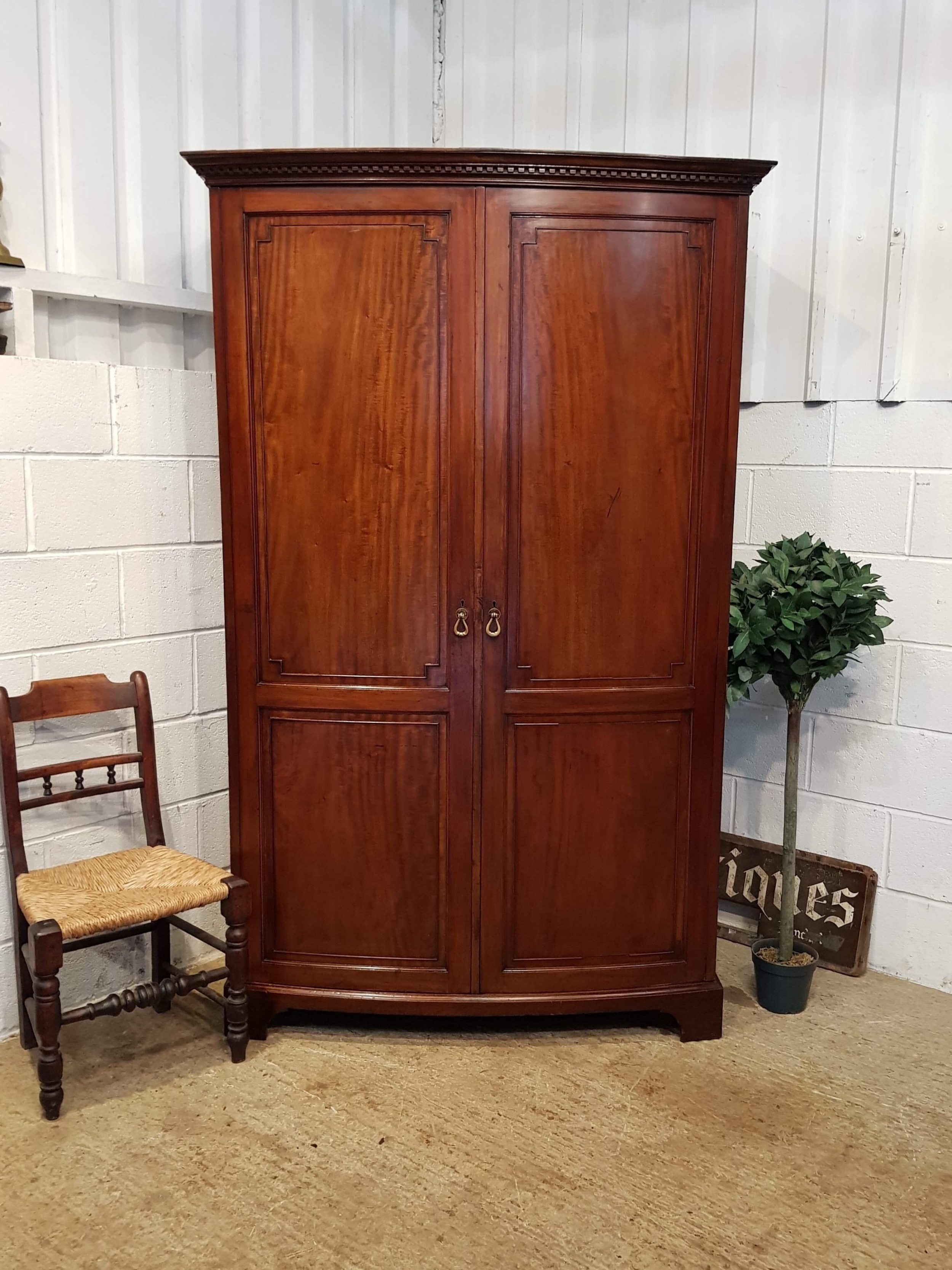 The Cheapest Price Edwardian Bowfront 2 Door Oak Wardrobe With Key Antique Furniture Edwardian (1901-1910)