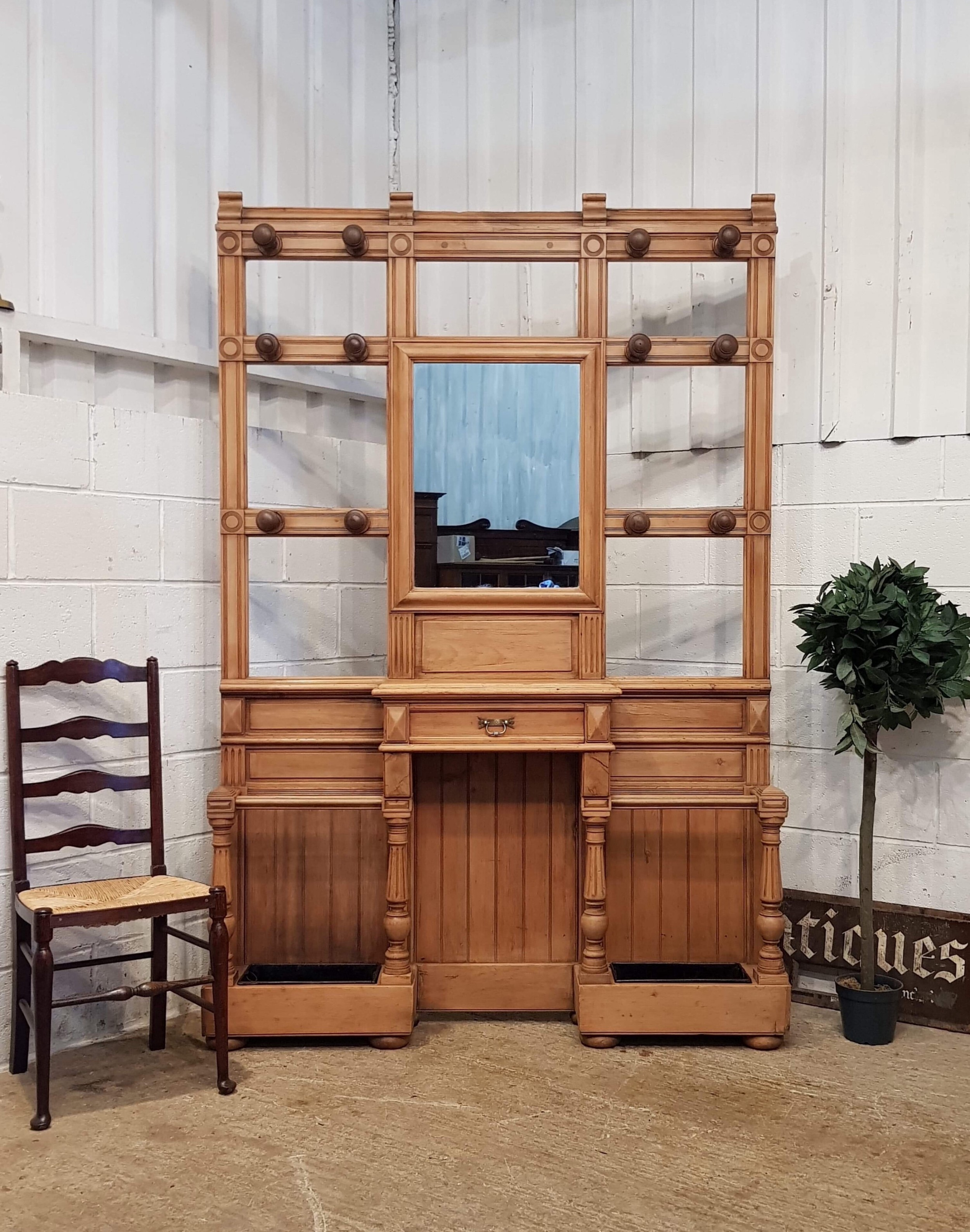 excellent large victorian pine and walnut hallstand c1880