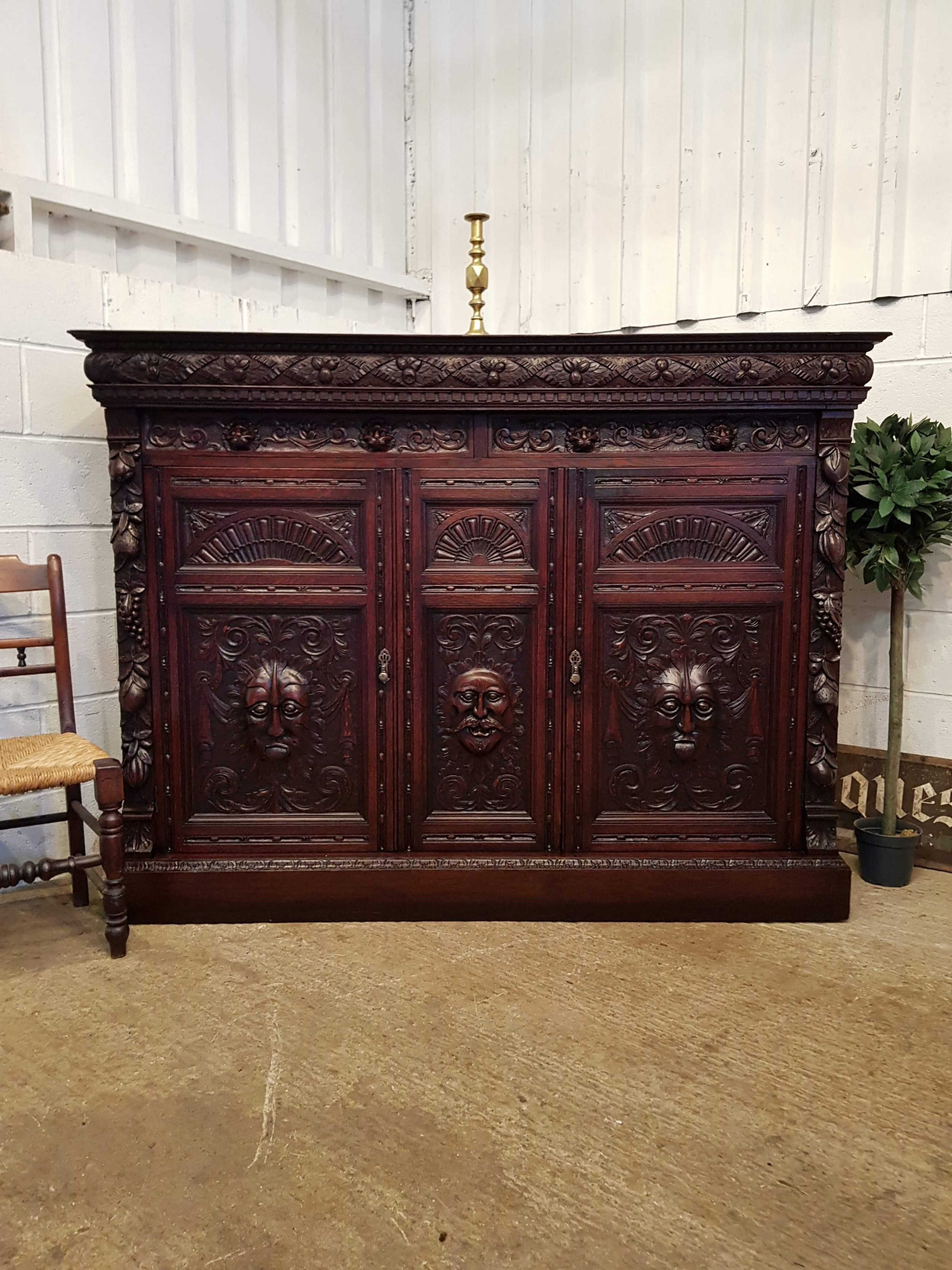 anique large victorian carved gothic oak cupboard sideboard c1880