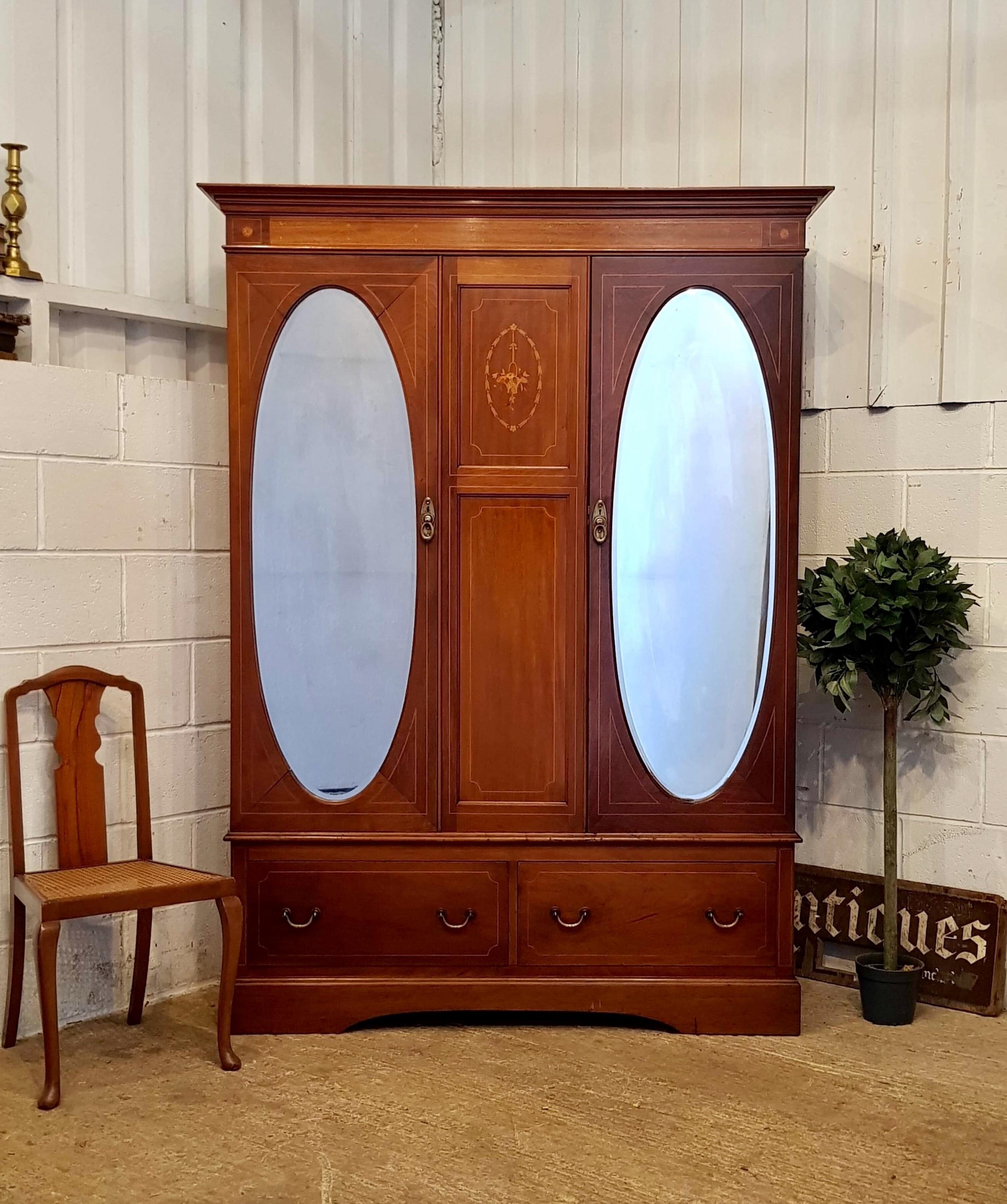 antique edwardian mahogany inlaid doubke wardrobe c1900