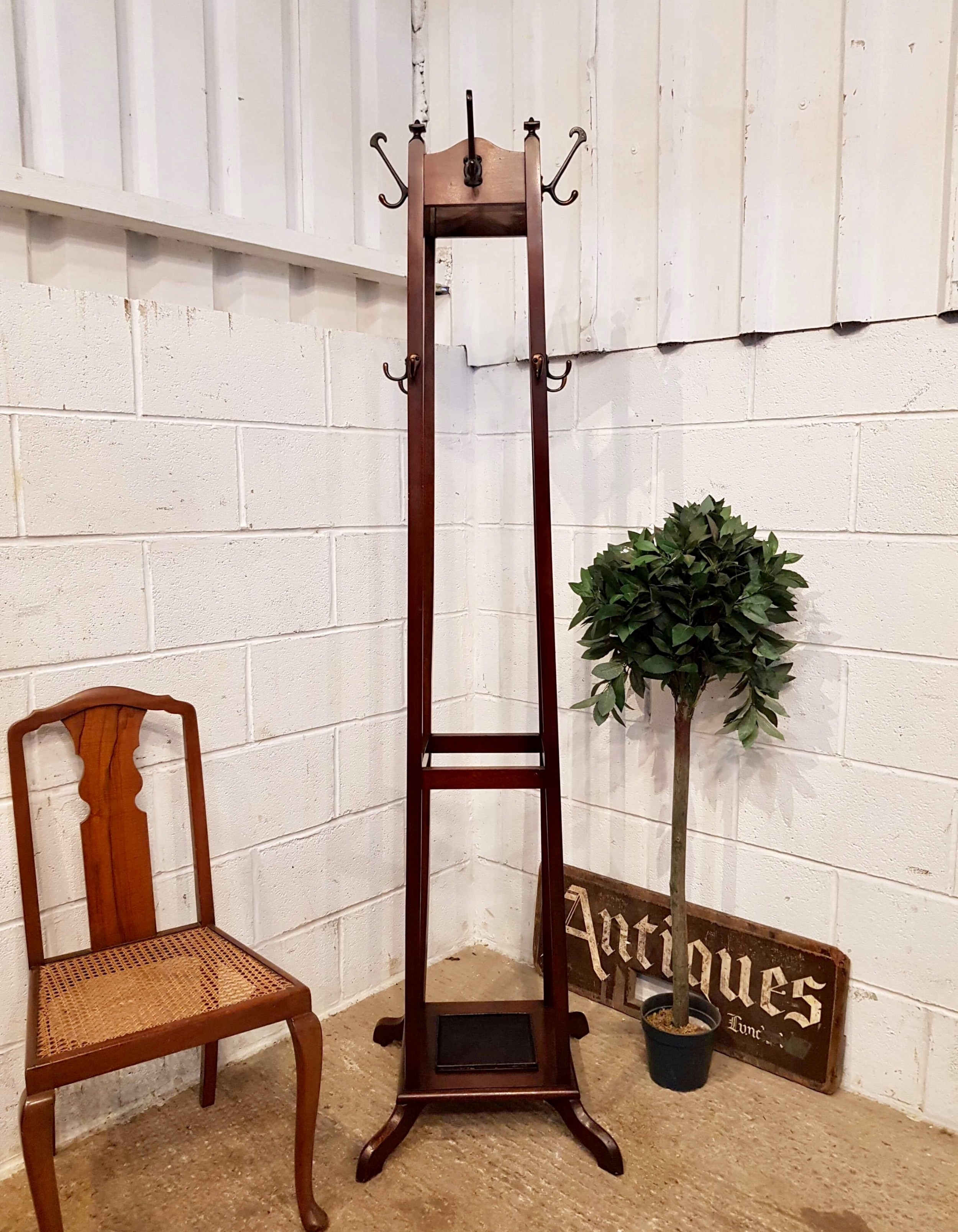 antique edwardian mahogany tall hat coat and stick stand c1900