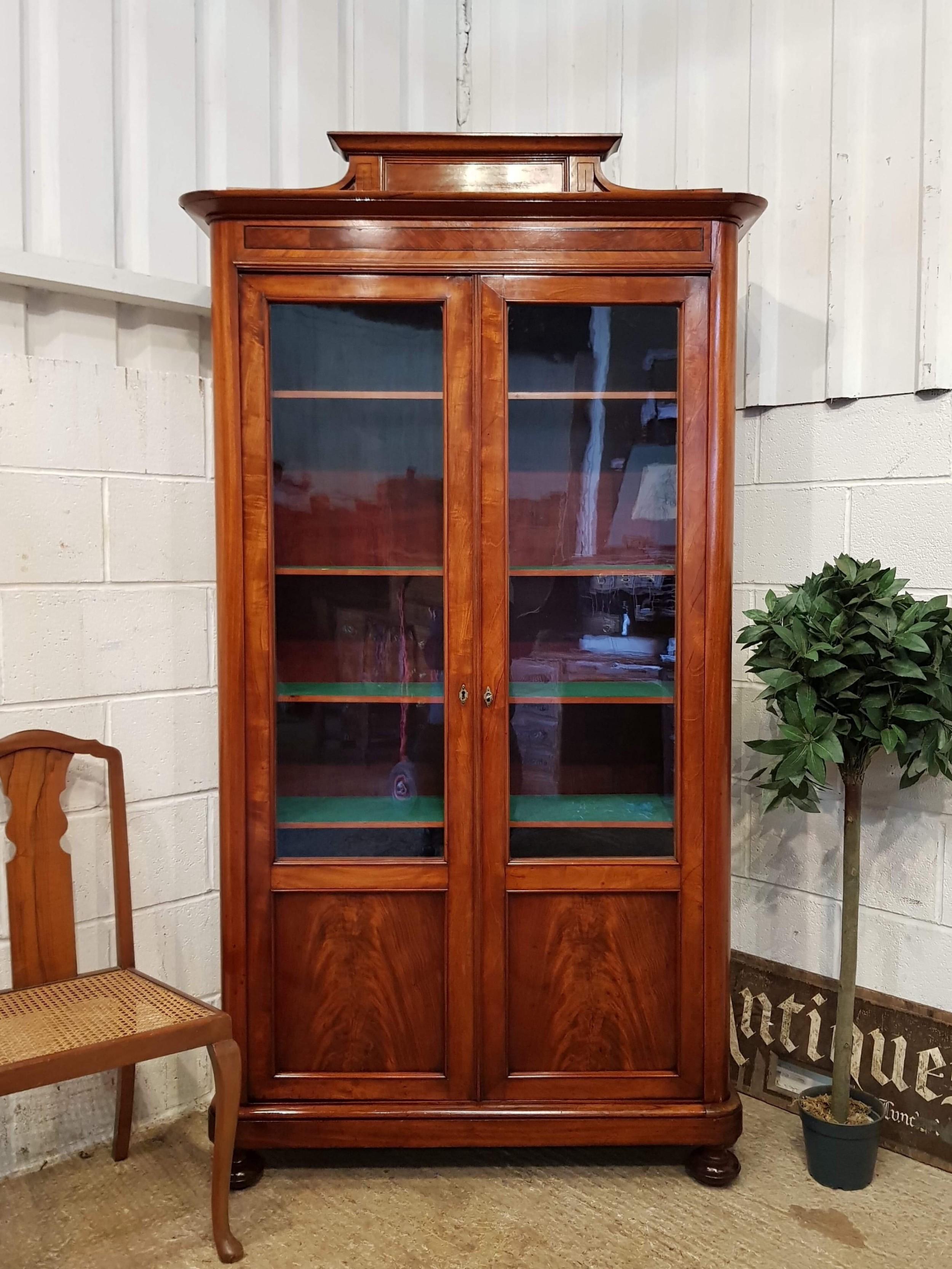 antique biedermeier mahogany glazed bookcase c1840