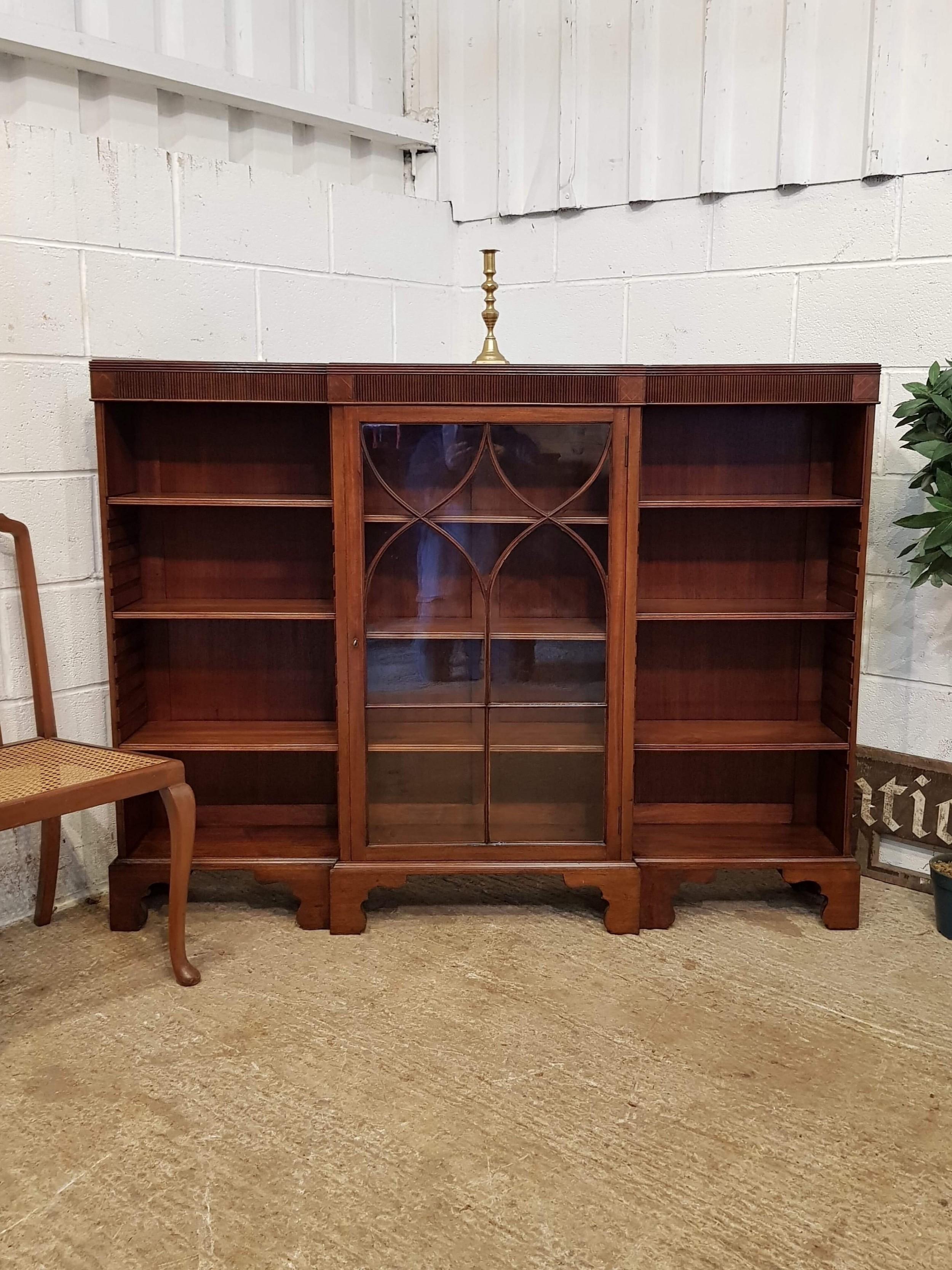 antique edwardian mahogany astragal glazed open bookcase c1900