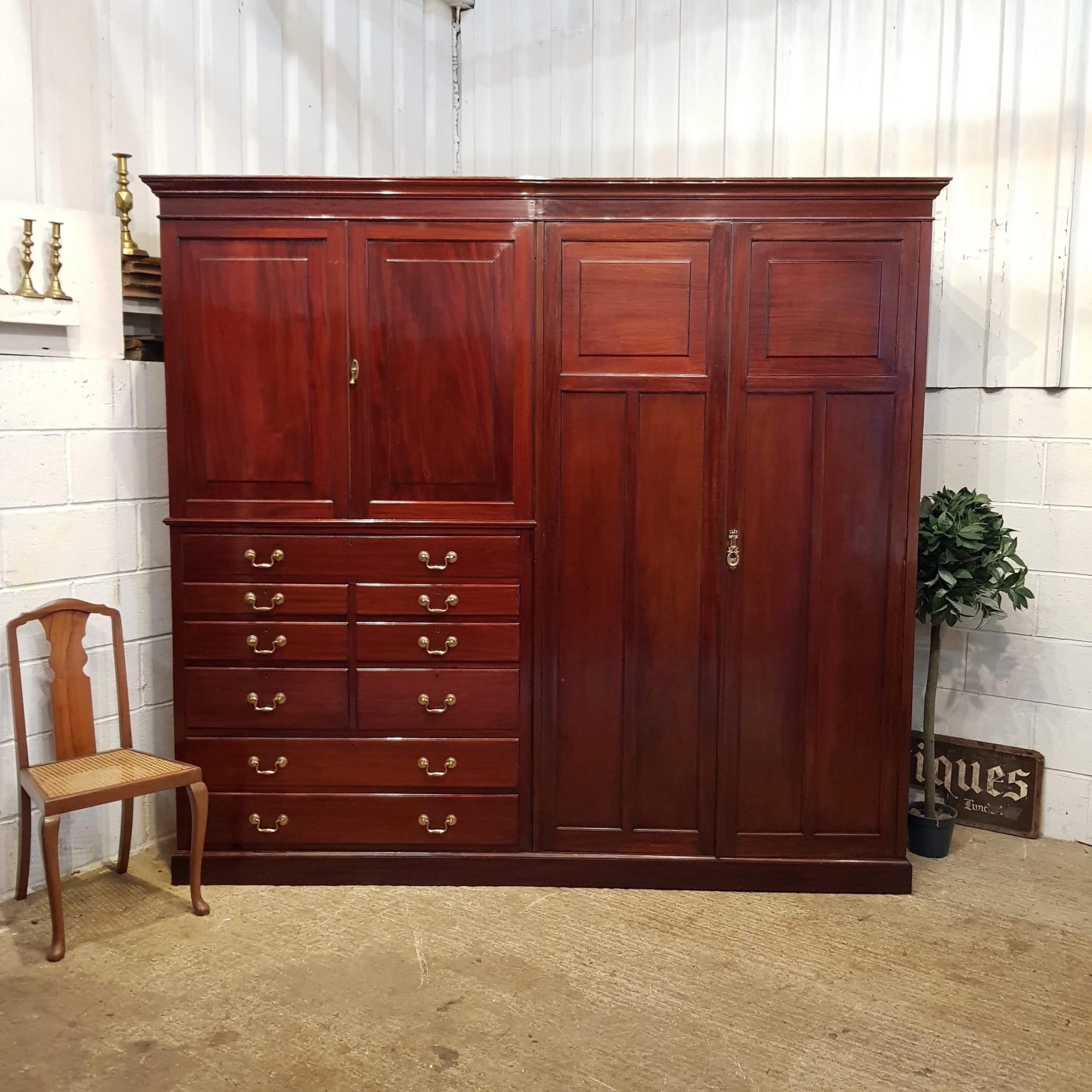 antique edwardian mahogany gents compactum wardrobe with clothes press c1900