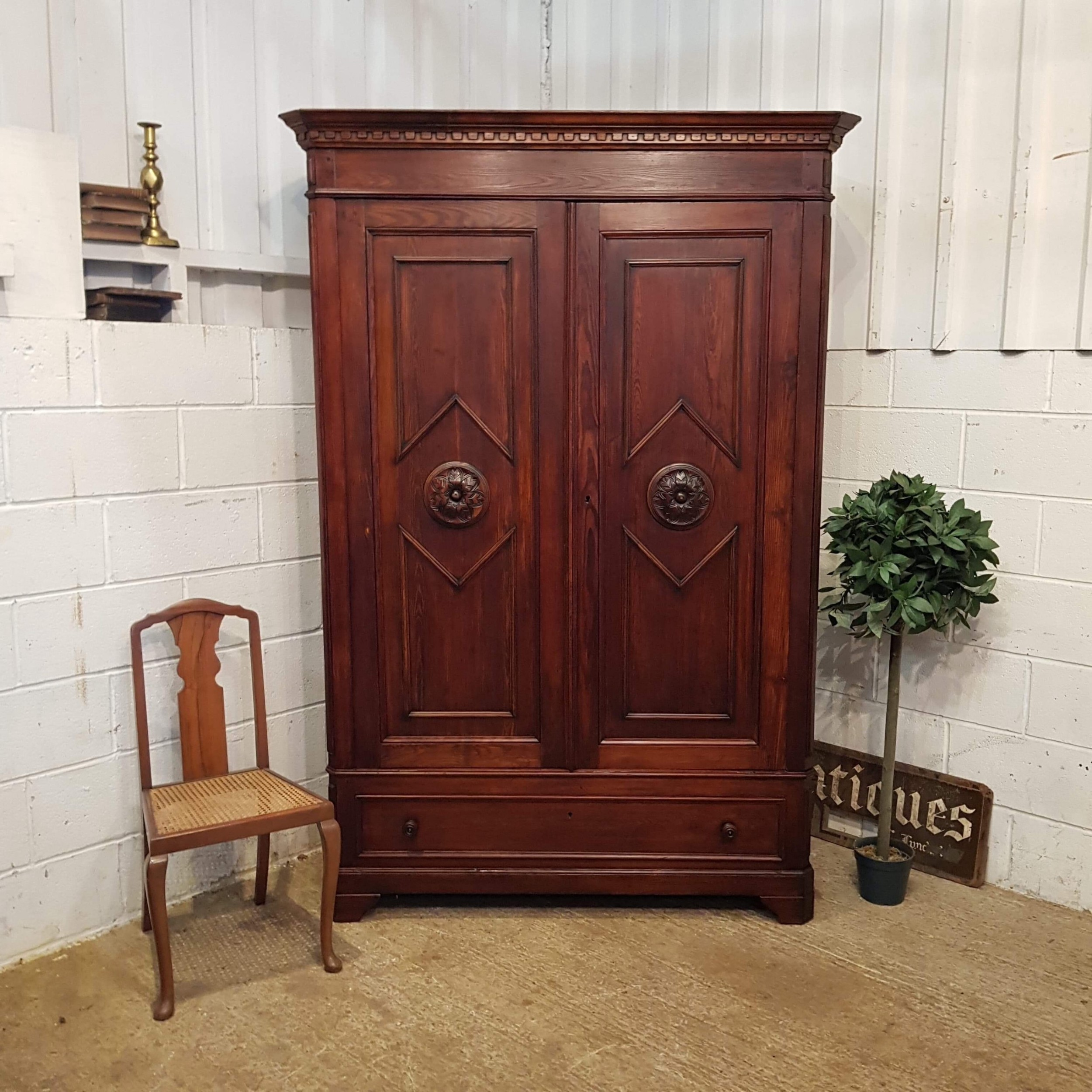 antique 19th century french walnut and pine armoire c1880
