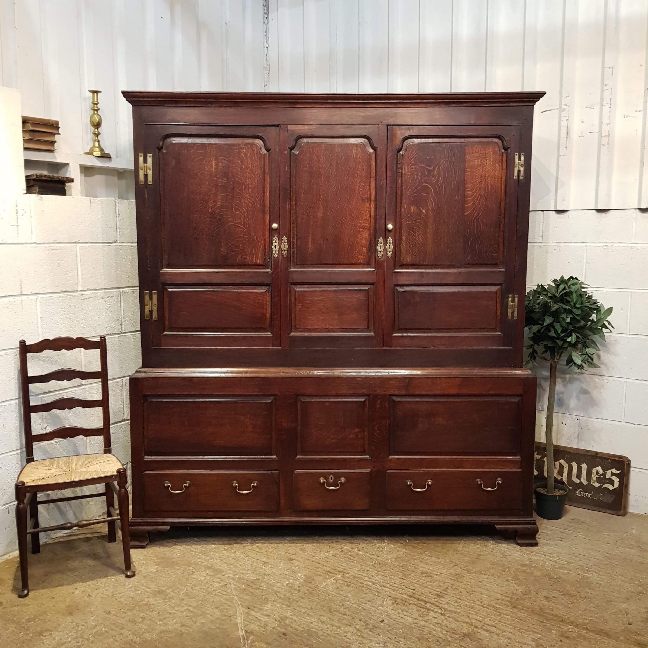 antique 18th century period oak tak cupboard c1780