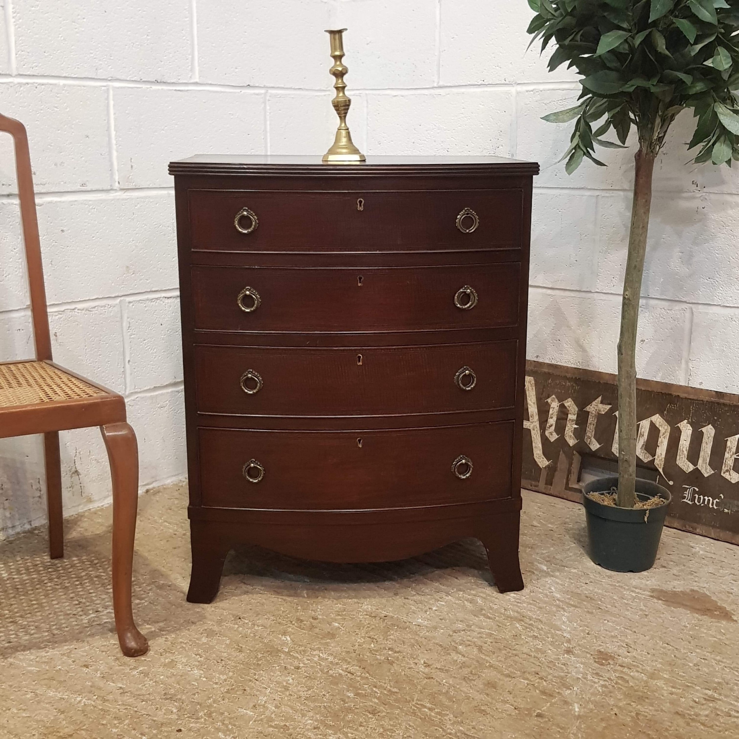 antique edwardian mahogany small bow front chest of drawers c1900