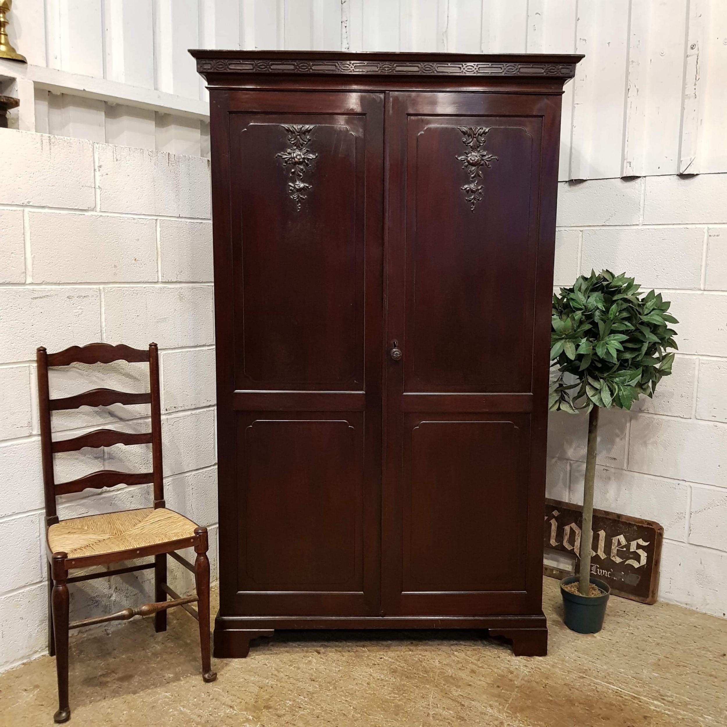antique edwardian chippendale cuban mahogany double wardrobe c1900