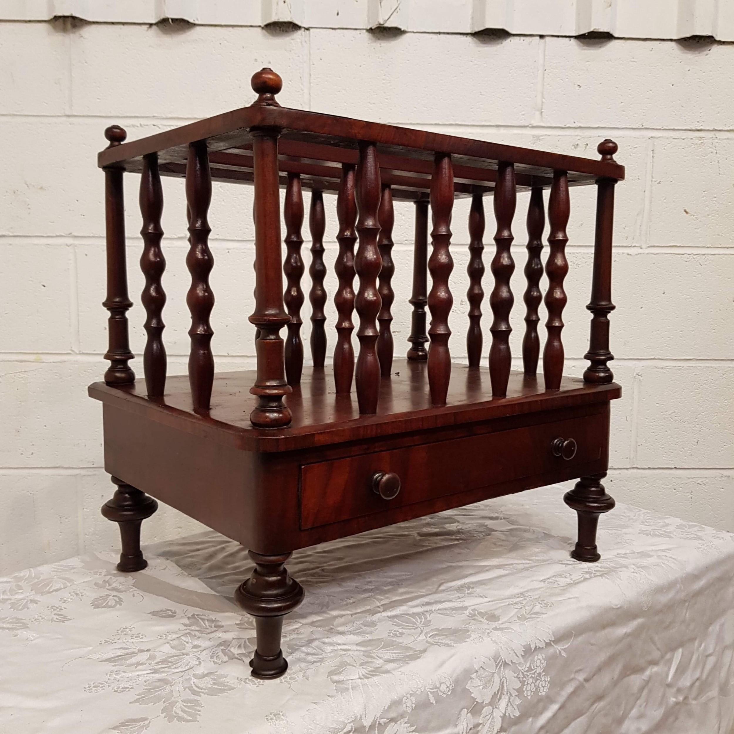 antique early victorian mahogany canterbury c1840