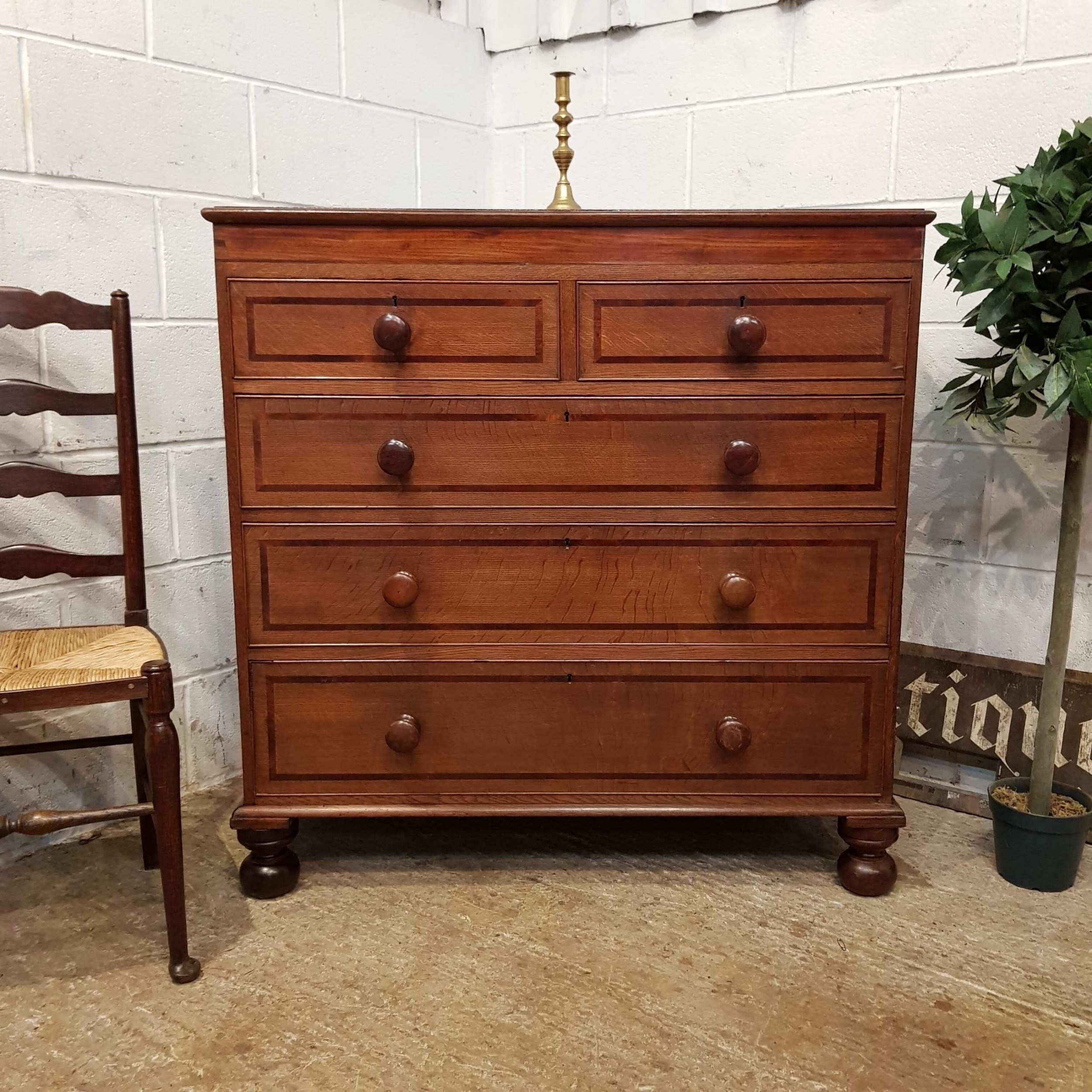 antique early victorian oak and mahogany chest of drawers c1840