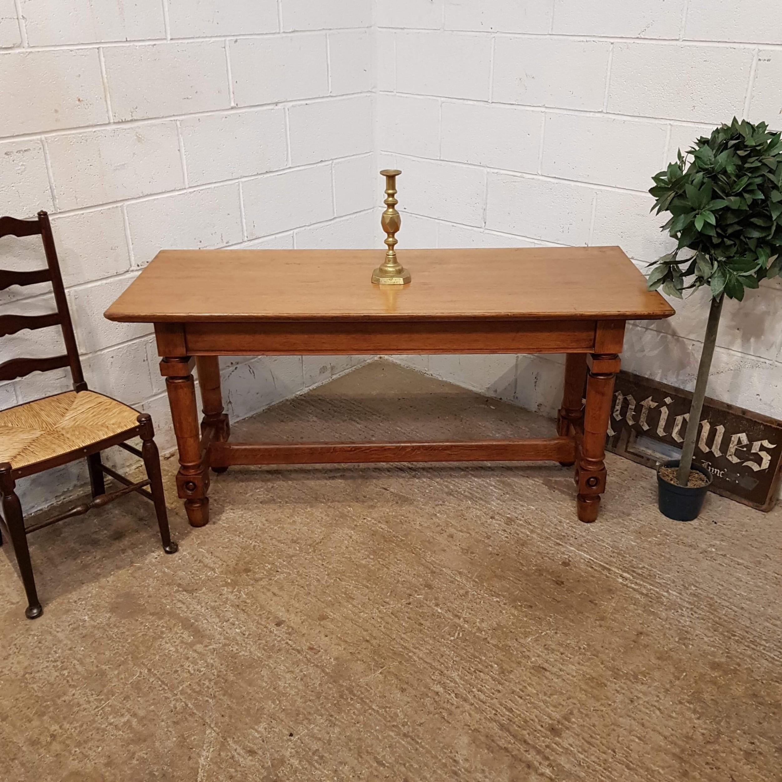 antique arts crafts oak refectory table c1890