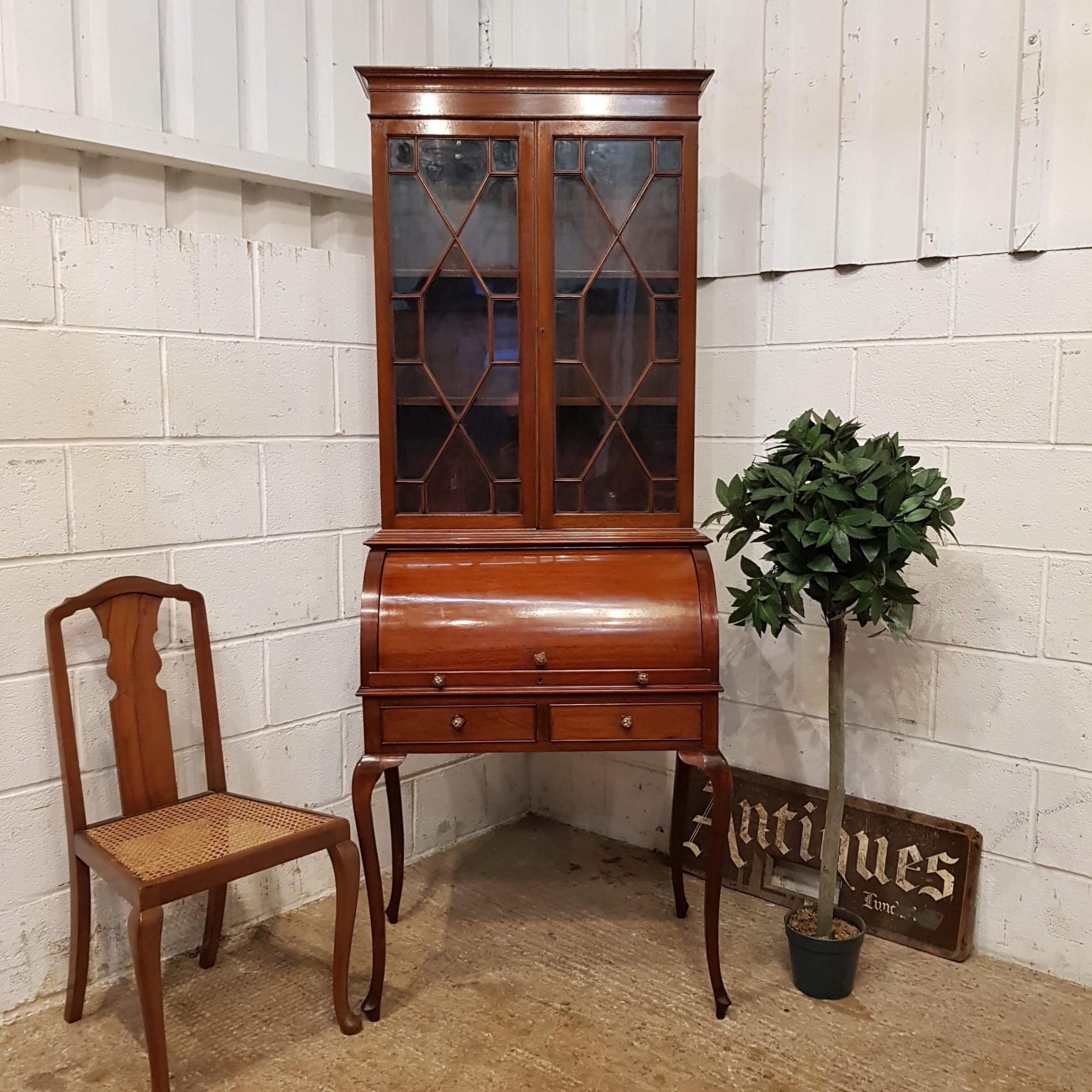 antique edwardian mahogany cylinder bureau bookcase c1900