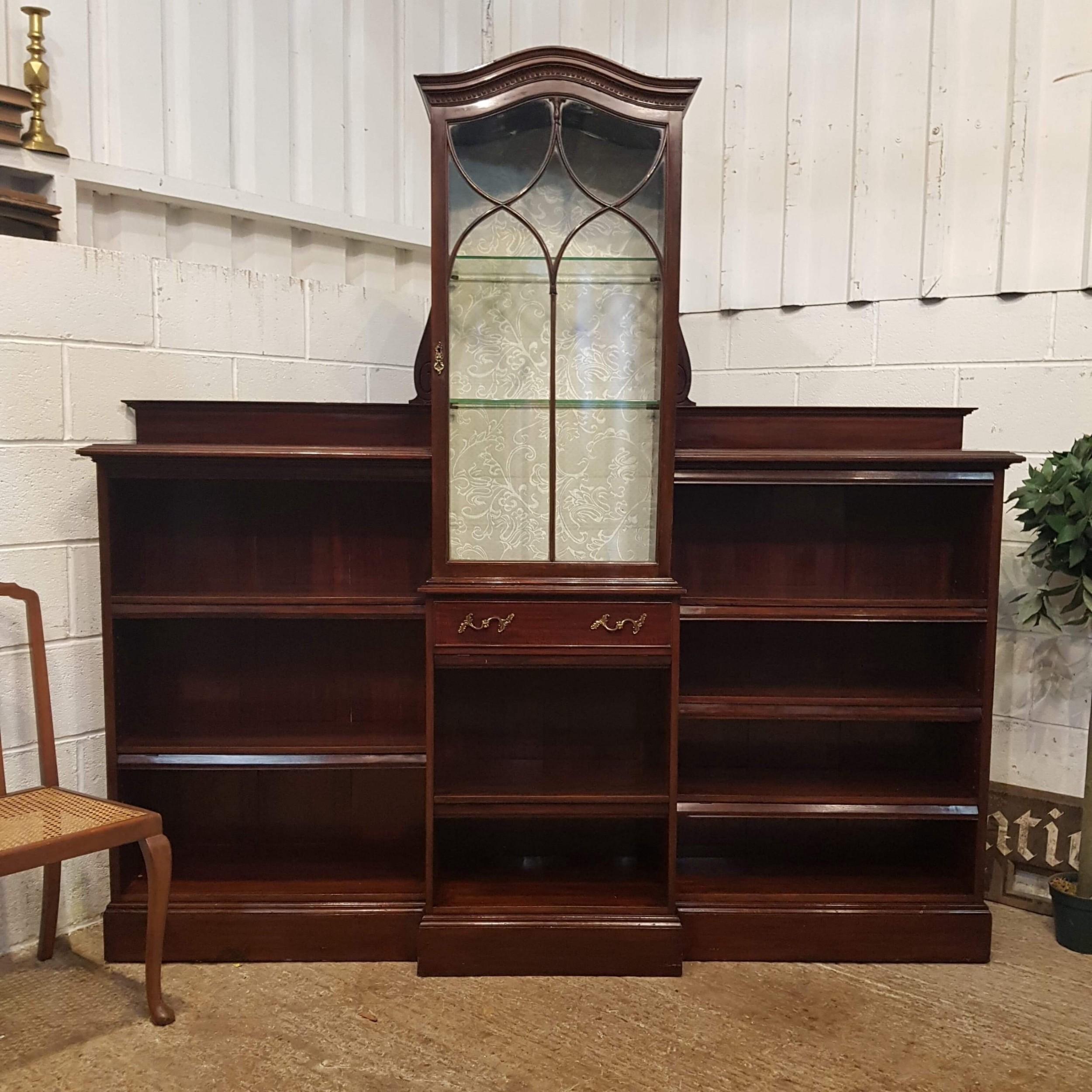antique art nouveau mahogany astragal glazed cabinet with open bookcase c1890