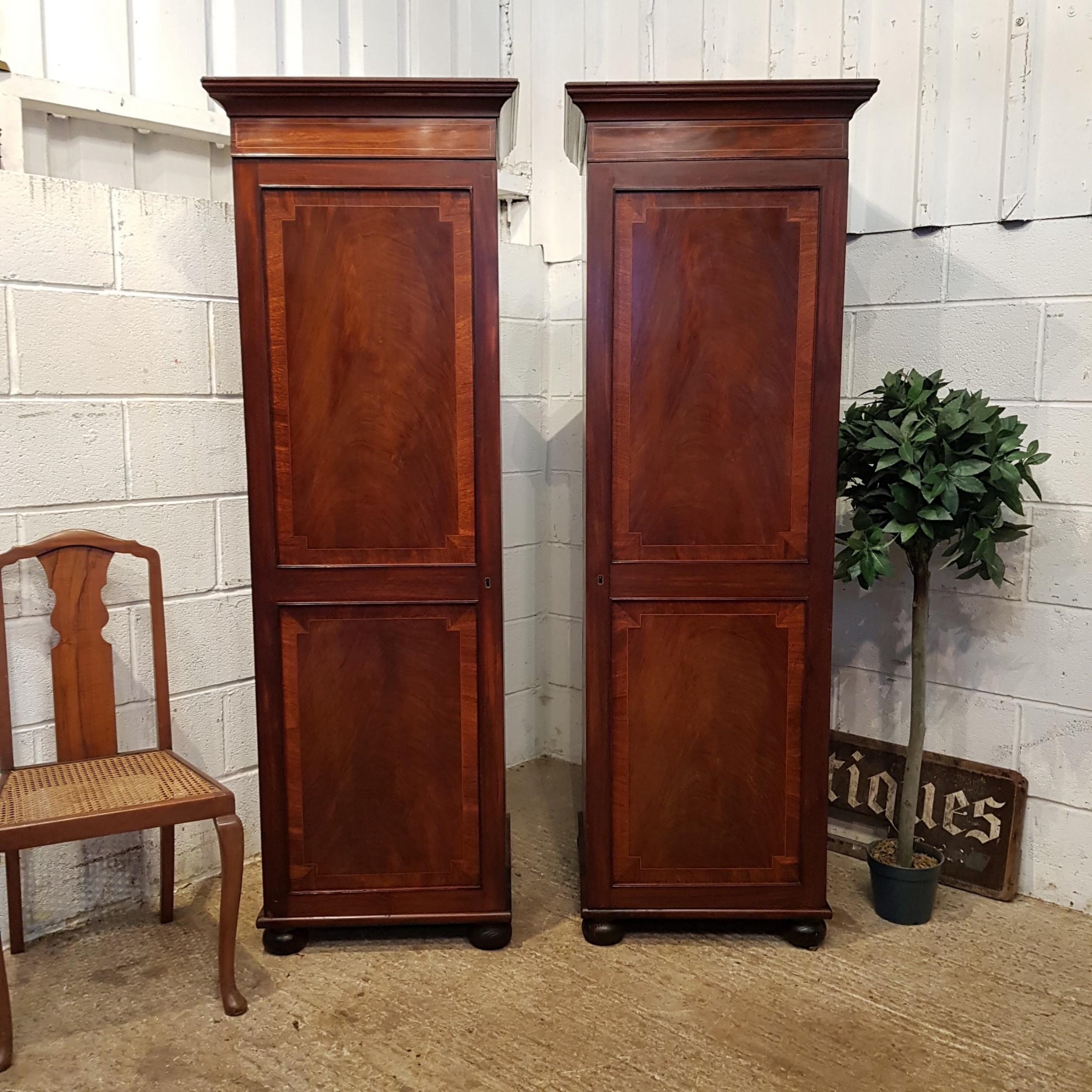 antique pair regency mahogany sentry box single wardrobes c1820